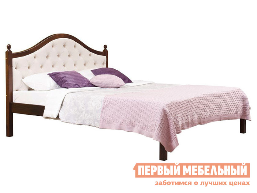 Односпальная кровать  Кая (К1) мягкая Бейц темный / Тринити лайт, 900 Х 2000 мм