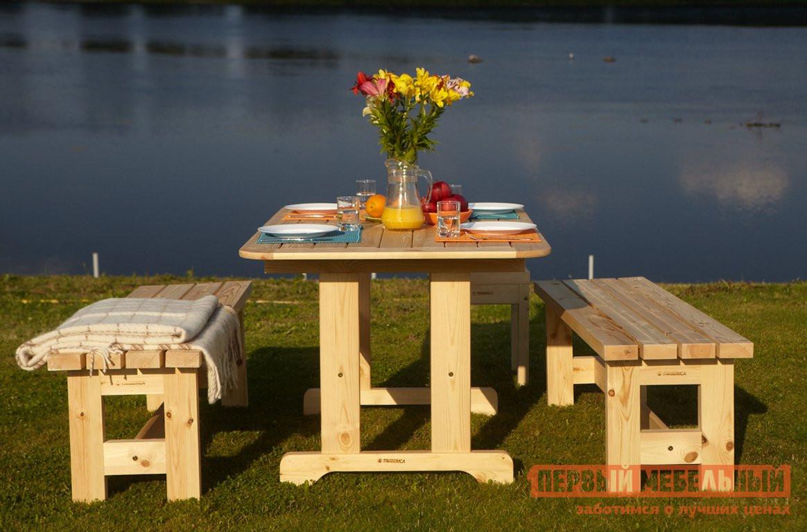 Комплект садовой мебели Timberica Стол Ярви + 2 скамьи дачные №2 +табурет Лахти