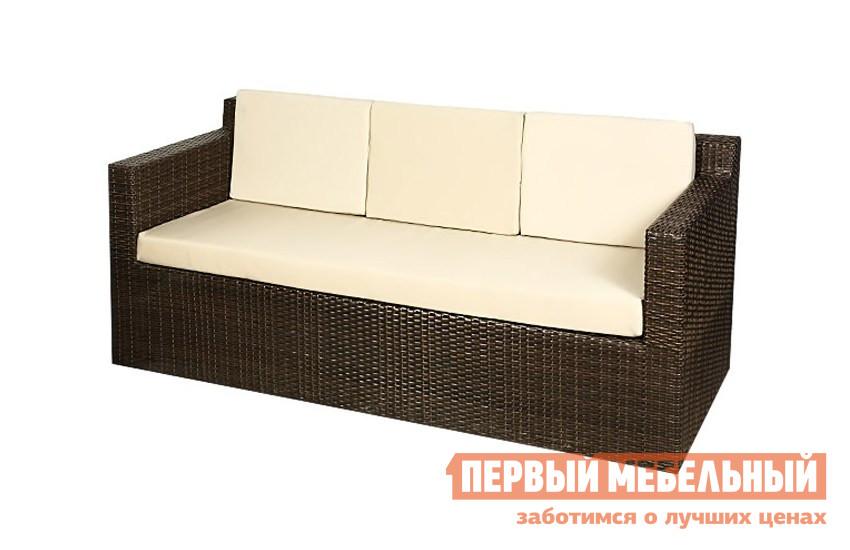 Плетеный диван из искусственного ротанга Паоли GARDA-1007 диван 3-мест с 4-мя подушками