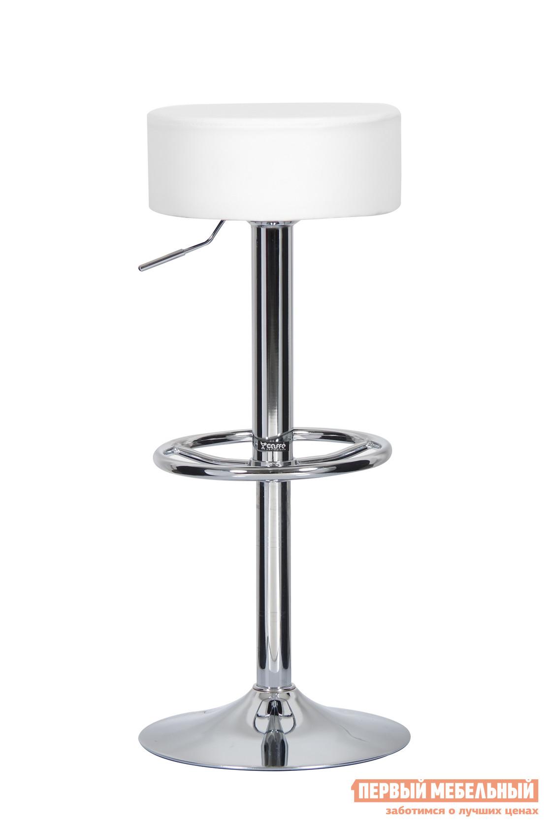 Барный стул Паоли Punto T-355 (круглая подножка) White кожзамБарные стулья<br>Габаритные размеры ВхШхГ 700 / 800x350x350 мм. Классический барный стул станет прекрасным дополнением как яркого домашнего интерьера, так и кафе, бара, ресторана.  Сиденье круглой формы в форме «таблетки» с наполнителем из поролона установлено на опору с газ-лифтом, что позволяет с легкостью регулировать высоту сидения. Лаконичный минималистский дизайн стула придется по вкусу ценителям и модерна, и классики. Материалы: хромированная сталь,  дерево, газ-лифт, ППУ средней плотности, обивка из высококачественной искусственной кожи  PVC. Минимальный срок службы: 10 лет. Нагрузка на газ-лифт: до 100 кг. Высота сиденья регулируется: от 69 до 89 см.<br><br>Цвет: Белый<br>Высота мм: 700 / 800<br>Ширина мм: 350<br>Глубина мм: 350<br>Кол-во упаковок: 1<br>Форма поставки: В разобранном виде<br>Срок гарантии: 12 месяцев<br>Тип: Для кухни<br>Тип: Регулируемые по высоте<br>Тип: Высота сиденья 600-700мм<br>Материал: Металл<br>Материал: Искусственная кожа<br>Форма: Круглые<br>С мягким сиденьем: Да<br>С одной ножкой: Да<br>Без спинки: Да