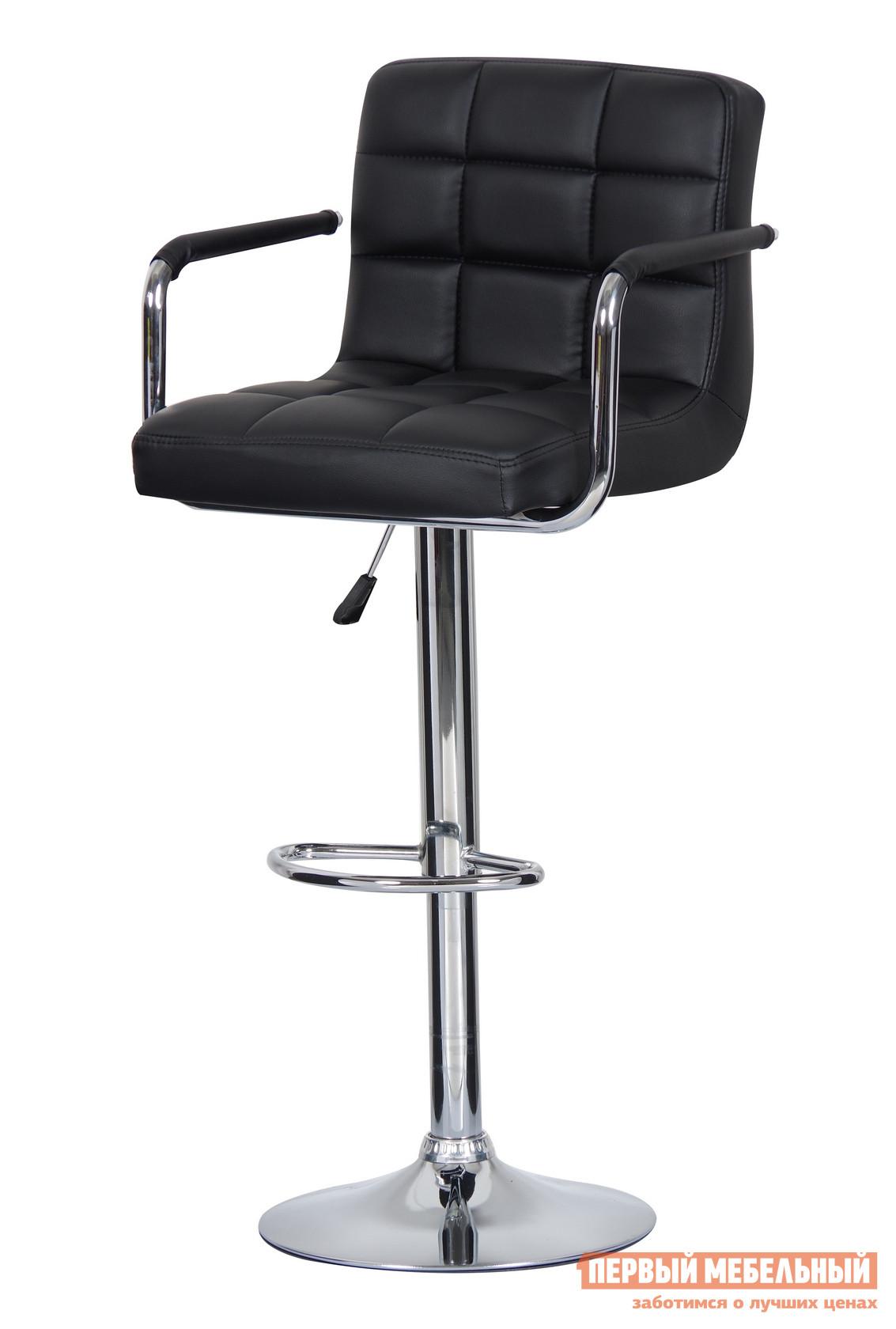 Барный стул Паоли Kruger Arm T808F-1 Black кожзамБарные стулья<br>Габаритные размеры ВхШхГ 920 / 1120x470x430 мм. Стильный барный стул.  Модель выполнена в стиле баухаус, в котором красота форм неотделима от практичности, а простота — синоним удобства.  Высота сиденья регулируется от 630 мм до 820мм. Высота спинки составляет от 300 до 380 мм.  Подлокотники обеспечивают дополнительный комфорт в расслабляющей обстановке бара. Материалы: хромированная сталь,  дерево, газ-лифт, обивка из высококачественной искусственной кожи PVC. Минимальный срок службы: 10 лет. Нагрузка на газ-лифт: до 100 кг.<br><br>Цвет: Black кожзам<br>Цвет: Черный<br>Высота мм: 920 / 1120<br>Ширина мм: 470<br>Глубина мм: 430<br>Кол-во упаковок: 1<br>Форма поставки: В разобранном виде<br>Срок гарантии: 12 месяцев<br>Тип: Для кухни, Регулируемые по высоте, Высота сиденья 600-700мм, Высота сиденья от 800мм<br>Материал: Металлические, из искусственной кожи<br>Форма: Квадратные<br>Особенности: С подлокотниками, С мягким сиденьем, С одной ножкой, Со спинкой
