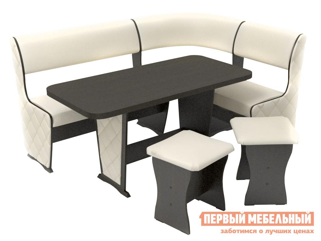 Мягкий кухонный уголок со столом и стульями ТАЛАНТ Консул-1 Лайт с накладками
