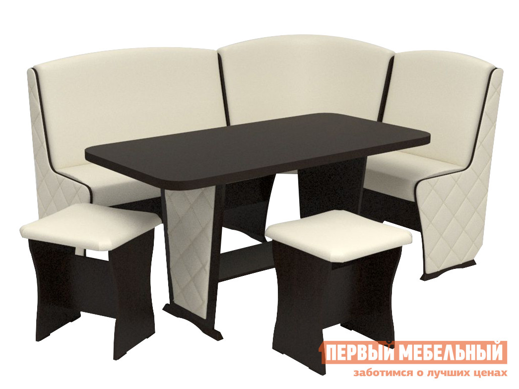 Мягкий кухонный уголок со столом и стульями ТАЛАНТ Консул-2-4 Лайт с накладками