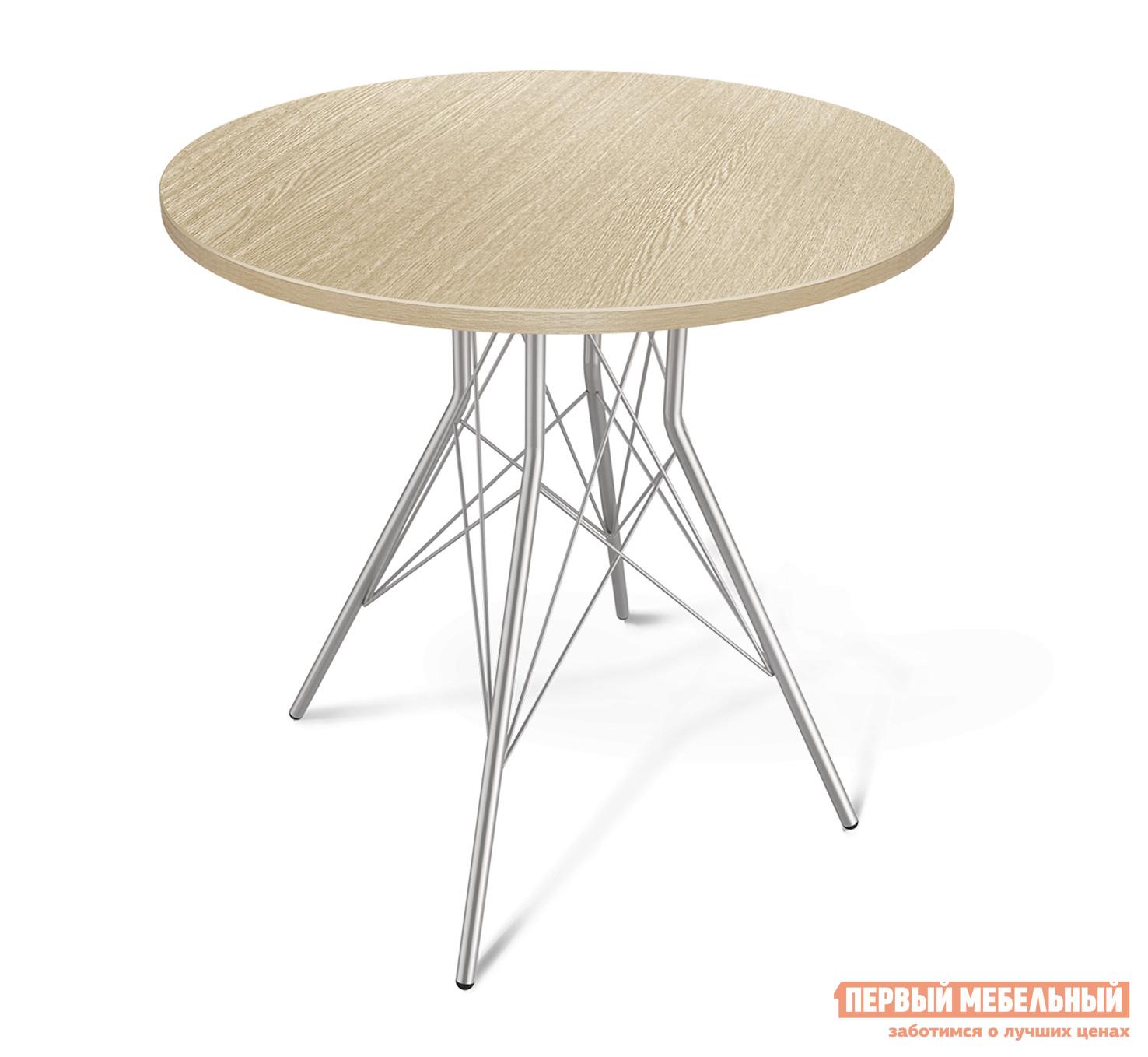 Кухонный стол  SHT-ТU2 + SHT-TT 80 ЛДСП Дуб беленый  / Хром лак