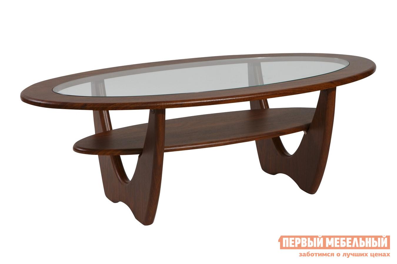 Журнальный столик   Стол журнальный Юпитер со стеклом Орех