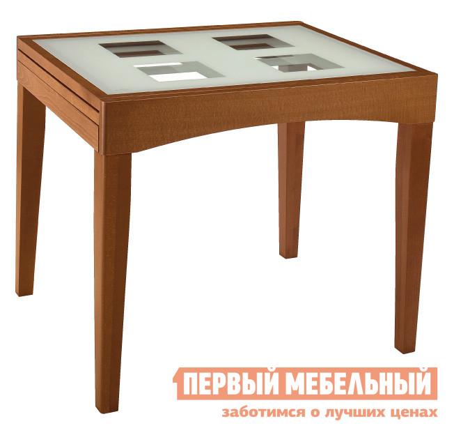 Обеденный стол Лидер «РИМ 90/75-С» Вишня / Стекло светлое с квадратамиОбеденные столы<br>Габаритные размеры ВхШхГ 760x900 / 1800x750 мм. Стол для кухни или столовой подойдет для помещения любого размера.  Он компактный, его можно отодвинуть к стене или к окну, чтобы было больше пространства, или расположить в центре столовой, раздвинув столешницу. Столешница выполнена из прочного стекла, что добавляет модели воздушности, а массив дерева, из которого сделано основание, уравновешивает её своей фундаментальностью.<br><br>Цвет: Красное дерево<br>Высота мм: 760<br>Ширина мм: 900 / 1800<br>Глубина мм: 750<br>Форма поставки: В разобранном виде<br>Срок гарантии: 24 месяца<br>Тип: Раздвижные<br>Тип: Трансформер<br>Материал: Стекло<br>Форма: Прямоугольные<br>Размер: Маленькие<br>Глянцевые: Да