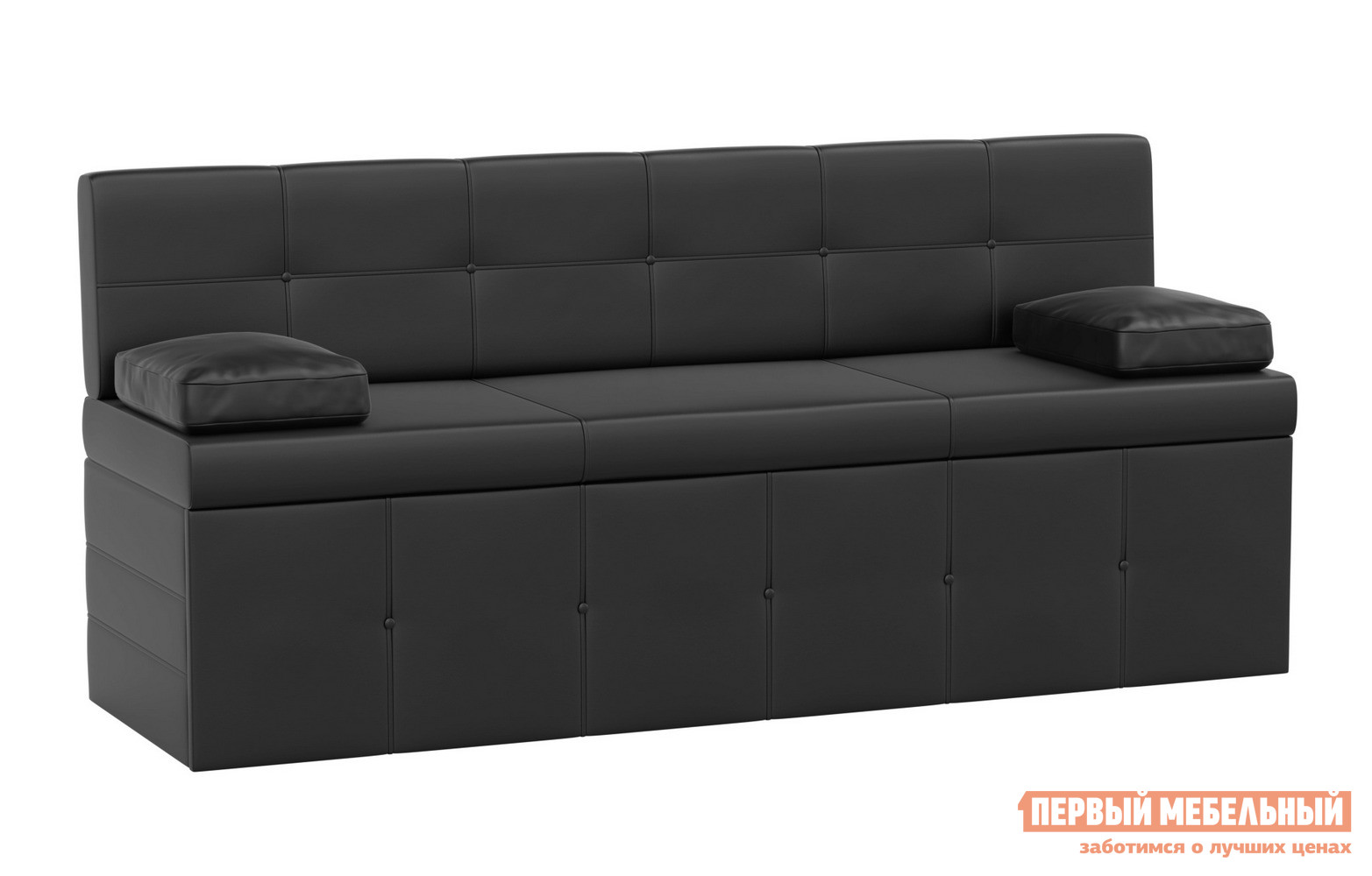 Фото Кухонный диван Мебелико Кухонный диван Лео Экокожа черная. Купить с доставкой