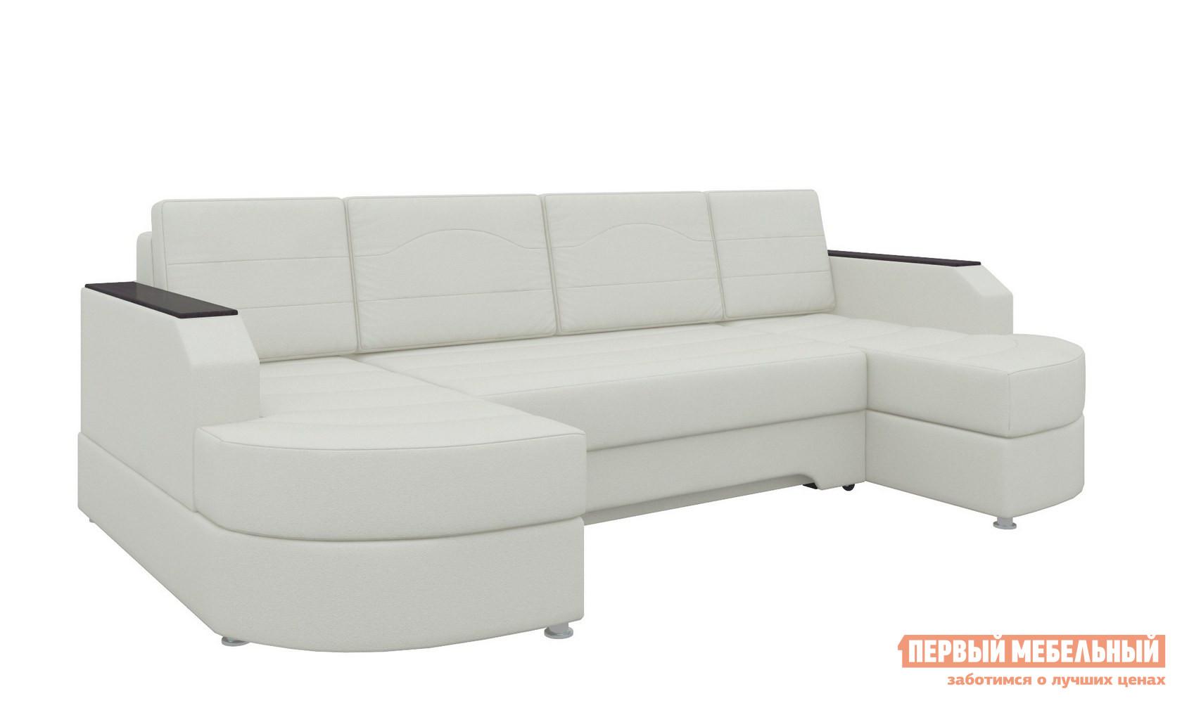 Диван Мебелико Диван угловой Сахара П Экокожа белая Мебелико Габаритные размеры ВхШхГ 850x2650x1400 мм. Сахара П — двухугловой диван, отличающийся вместительной системой хранения. <br> Изделие станет настоящей находкой для гостеприимных хозяев и больших семей, ведь габариты модели позволяют с удобством разместить более 5 персон. <br> Благодаря устройству трансформации еврокнижка, легким движением руки вы организуете полноценное спальное место,размеры которого составляют 147 х 235 см. <br>Каркас Сахара П изготовлен из комбинации ЛДСП и соснового массива.  Внутреннее наполнение дивана — ППУ, войлок и синтепон. <br>Диван оборудован двумя ёмкими ящиками, в них можно аккуратно и бережно хранить не только постельное белье, но и многие другие вещи. <br>  С Сахара П вы гармонично и практично оформите гостиную комнату, получив комфортабельный диван и полноценную кровать. <br>