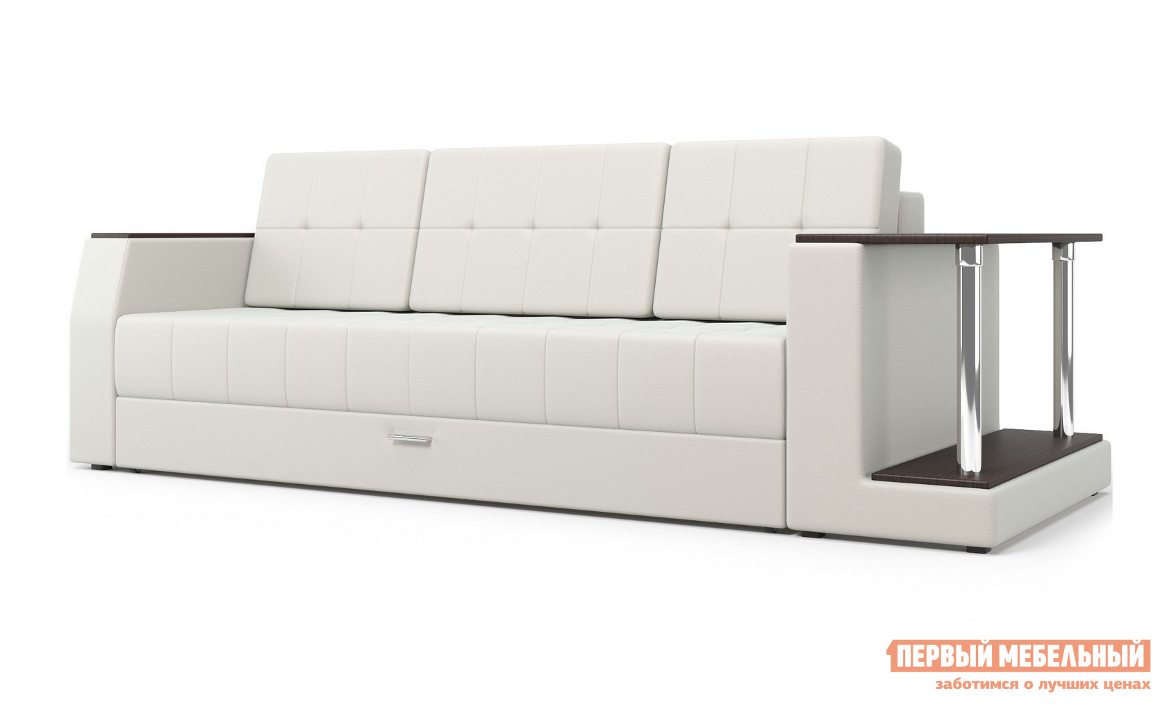 Диван Мебелико Атлант Экокожа белая, Правый Мебелико Габаритные размеры ВхШхГ 710x2520x1030 мм. Большой прямой диван Атлант выглядит стильно и солидно.  Такая модель понравится тем, кто предпочитает лаконичную и безупречную мебель для оформления интерьера. <br>Отличительная черта этого дивана — аккуратный столик с двумя полками с одной стороны.  На нем всегда под рукой будет книга, которую вы сейчас читаете, мультимедиа аксессуары, а можно сделать из столика мини-бар. <br>Обратите внимание, что столик может располагаться с правой или с левой стороны.  При оформлении заказа не забудьте указать с какой стороны вы хотели бы, чтобы находился столик. <br>Под выдвижным сиденьем есть вместительные отделения для постельных принадлежностей.  Благодаря отлично зарекомендовавшему себя раскладному механизму «еврокнижка» диван легко и быстро превращается в удобную кровать со спальным местом 1450 х 1900 мм.  Высота от пола до сиденья — 450 мм, глубина сиденья — 630 мм. <br>Для изготовления каркаса используется массив сосны и ЛДСП.  Обивка — искусственная кожа.  Наполнение представляет собой пружинный блок Bonnel, ППУ 25 кг/м3, войлок и синтепон. <br>