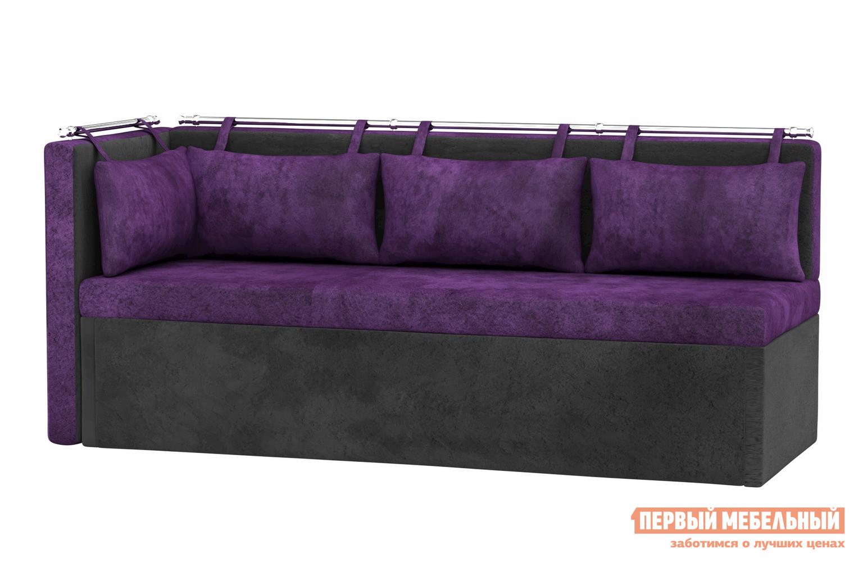 Купить со скидкой Кухонный диван Мебелико Кухонный угловой диван Метро Фиолетово-черный микровельвет, Левый