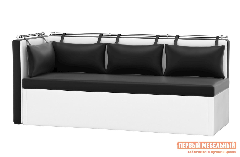 Кухонный диван  Кухонный угловой диван Метро Экокожа черно-белый, Левый — Кухонный угловой диван Метро Экокожа черно-белый, Левый