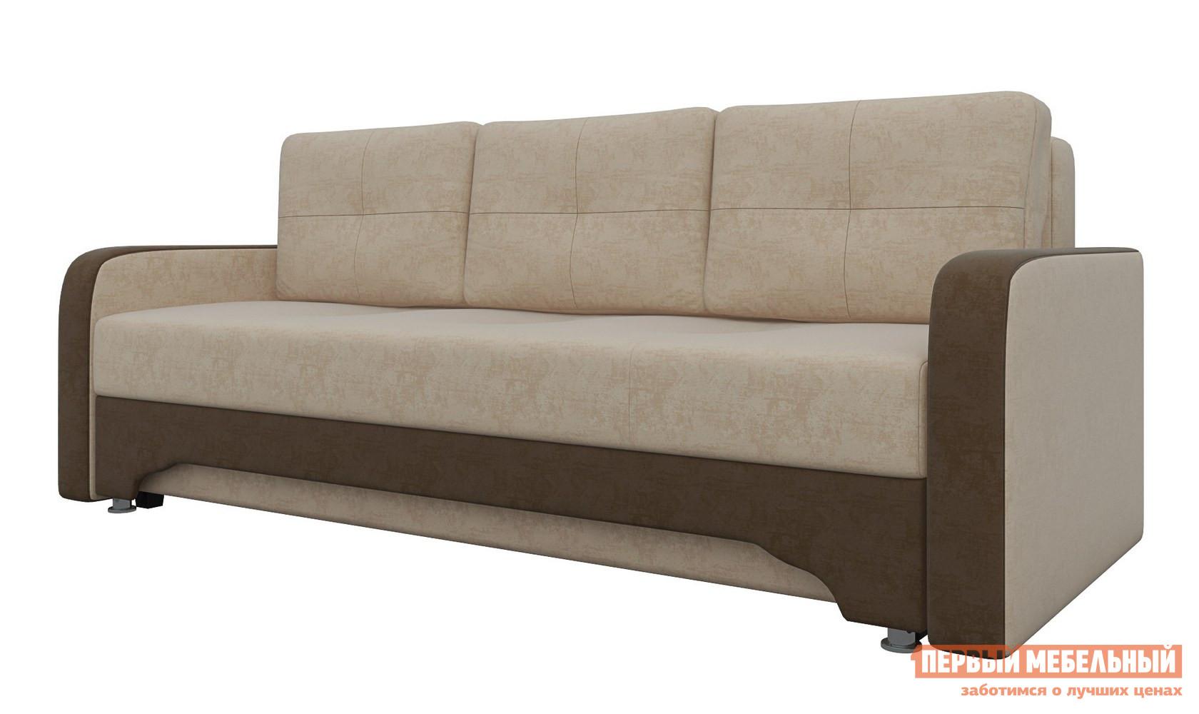 Диван Мебелико Диван-еврокнижка Ник-3 Бежево-коричневый микровельвет Мебелико Габаритные размеры ВхШхГ 900x2100x920 мм. Раскладной диван Ник-3 выполнен в классическом стиле.  Данное изделие станет отличной находкой для ценителей простоты и комфорта. <br> Прочный каркас модели выполнен из соснового массива и ЛДСП. <br> В качестве внутреннего наполнения выступает блок зависимых пружин типа Боннель в сочетании с пенополиуретаном, войлоком и синтепоном. <br>Глубина сиденья — 630 мм. <br>Высота сиденья от пола — 450 мм. <br>Благодаря механизму трансформации еврокнижка, вы сможете организовать удобное спальное место размером 140 х 190 см. <br>Диван оснащен большим ящиком для хранения белья. <br> В комплектацию модели входят три больших прямоугольных подушки, что гарантирует хороший отдых и теплую атмосферу уюта. <br>