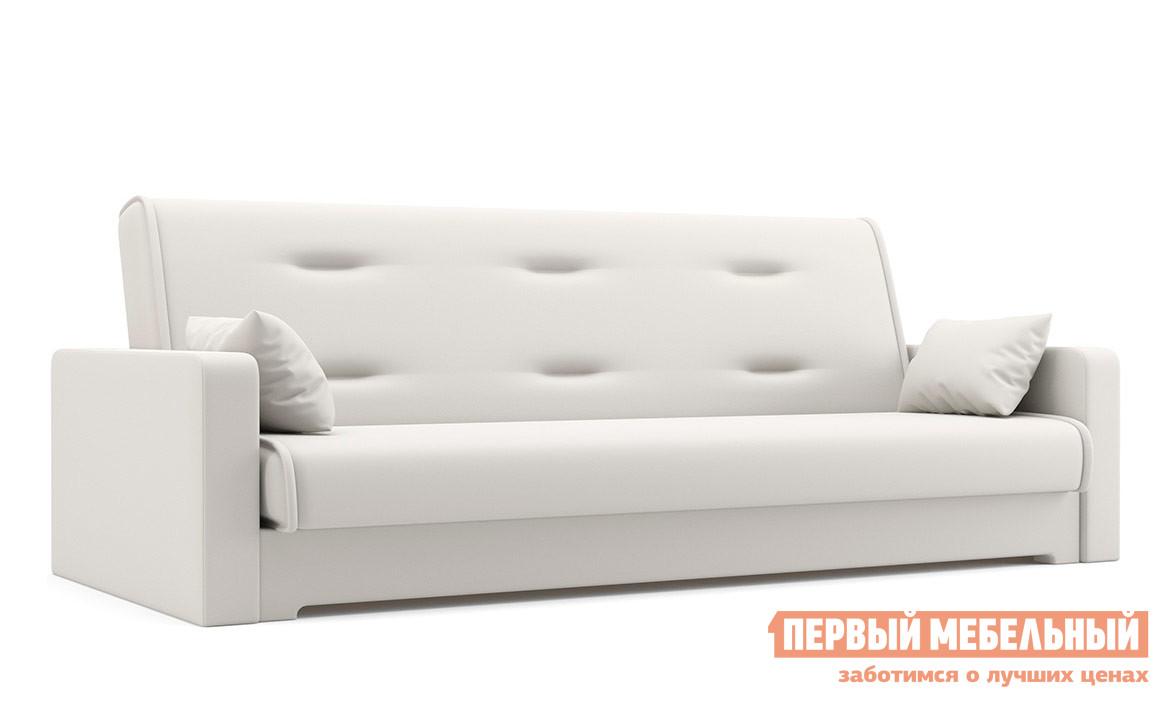 Диван Мебелико Надежда Экокожа белая Мебелико Габаритные размеры ВхШхГ 900x2100x950 мм. Мягкий и удобный диван с декоративной прошивкой на спинке.  Благодаря механизму «книжка», он раскладывается буквально одним движением. <br>Спальное место имеет размер 1200х1870 мм.  Под сиденьем есть вместительный бельевой ящик. <br>Каркас модели выполнен из массива сосны и ДВП, обивка — экокожа первого класса.  Внутреннее наполнение — пенополиуретан. <br />Декоративные подушки в комплекте. <br>