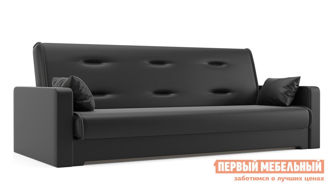 Диван Мебелико Надежда Экокожа черная Мебелико Габаритные размеры ВхШхГ 900x2100x950 мм. Мягкий и удобный диван с декоративной прошивкой на спинке.  Благодаря механизму «книжка», он раскладывается буквально одним движением. <br>Спальное место имеет размер 1200х1870 мм.  Под сиденьем есть вместительный бельевой ящик. <br>Каркас модели выполнен из массива сосны и ДВП, обивка — экокожа первого класса.  Внутреннее наполнение — пенополиуретан. <br />Декоративные подушки в комплекте. <br>