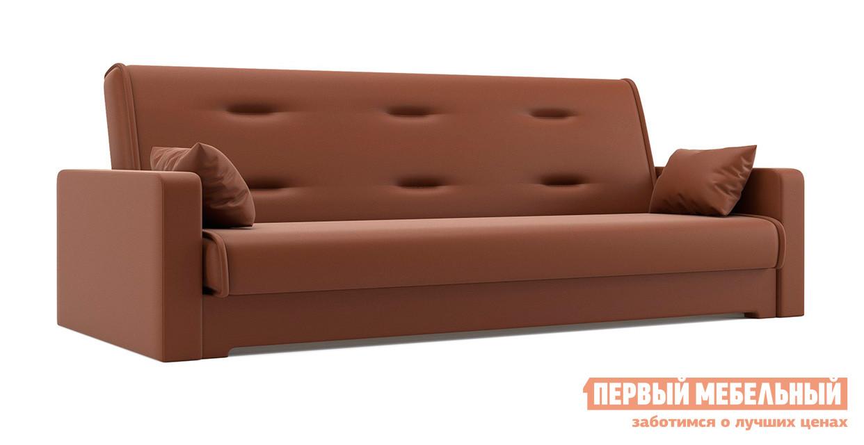 Диван Мебелико Надежда Экокожа коричневая Мебелико Габаритные размеры ВхШхГ 900x2100x950 мм. Мягкий и удобный диван с декоративной прошивкой на спинке.  Благодаря механизму «книжка», он раскладывается буквально одним движением. <br>Спальное место имеет размер 1200х1870 мм.  Под сиденьем есть вместительный бельевой ящик. <br>Каркас модели выполнен из массива сосны и ДВП, обивка — экокожа первого класса.  Внутреннее наполнение — пенополиуретан. <br />Декоративные подушки в комплекте. <br>