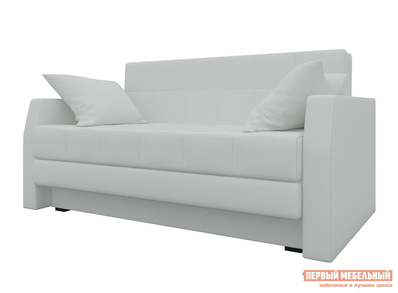 Диван Мебелико Малютка Экокожа белая Мебелико Габаритные размеры ВхШхГ 880x1480x860 мм. Суперкомпактный раскладной диван с декоративными подушками поможет создать уютный уголок отдыха в гостиной и при этом обеспечит полноценное спальное место. <br>Простой и надежный механизм трансформации помогает превратиться диван в кровать со спальным местом 1300х1870 мм.  Также модель оснащена бельевым ящиком. <br>Каркас дивана выполнен из фанеры и ЛДСП, обивка — ткань или экокожа, в зависимости от выбранного цвета.  Внутреннее наполнение — пенополиуретан. <br>