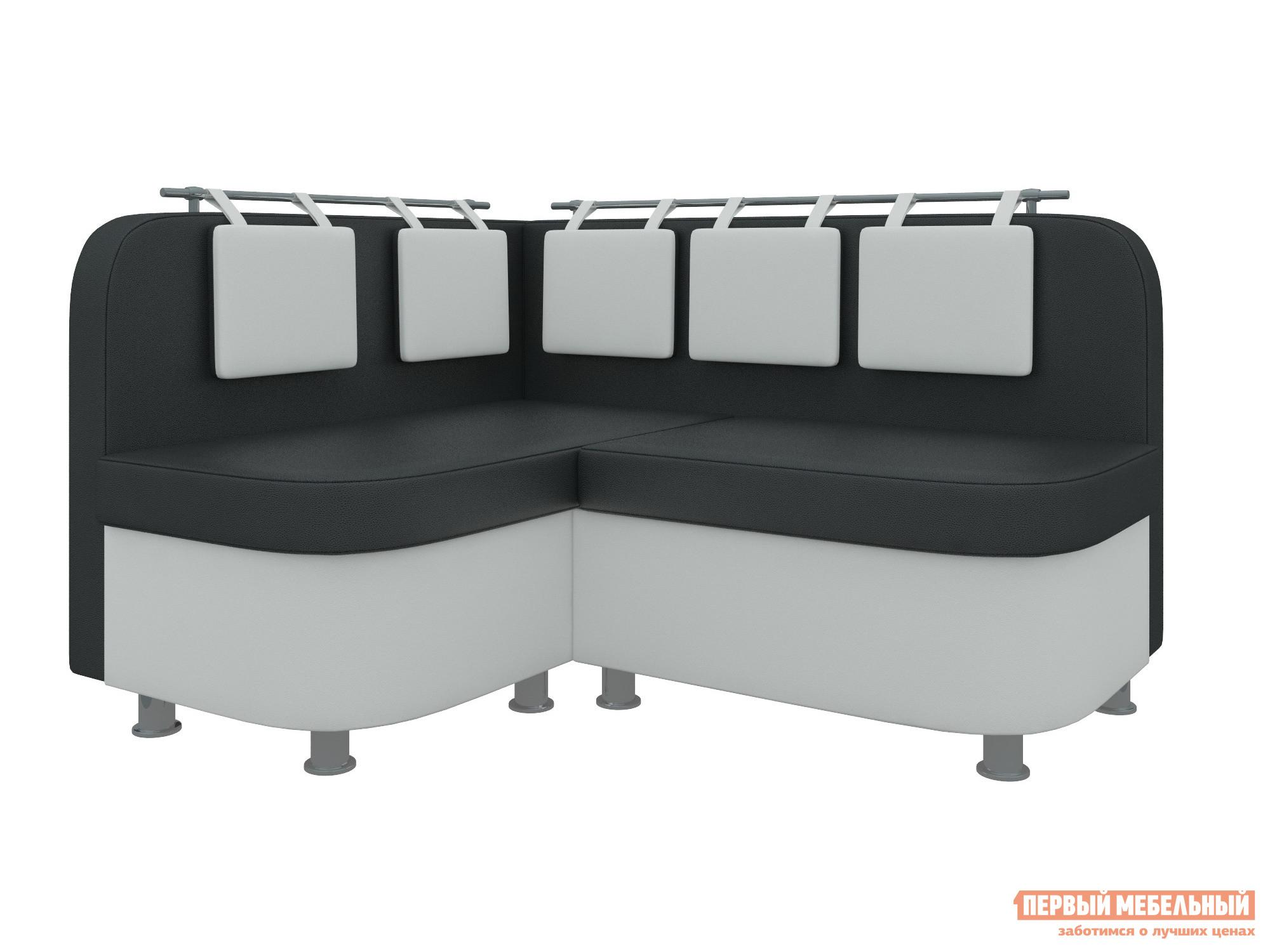 Кухонный уголок Мебелико Уют-2 Экокожа черно-белый, Левый