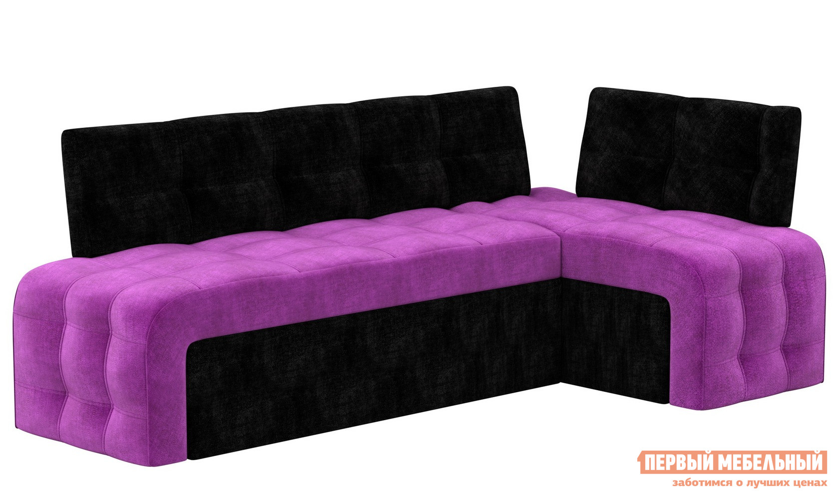 Кухонный уголок  Кухонный угловой диван Люксор микровельвет Фиолетово-черный микровельвет, Правый