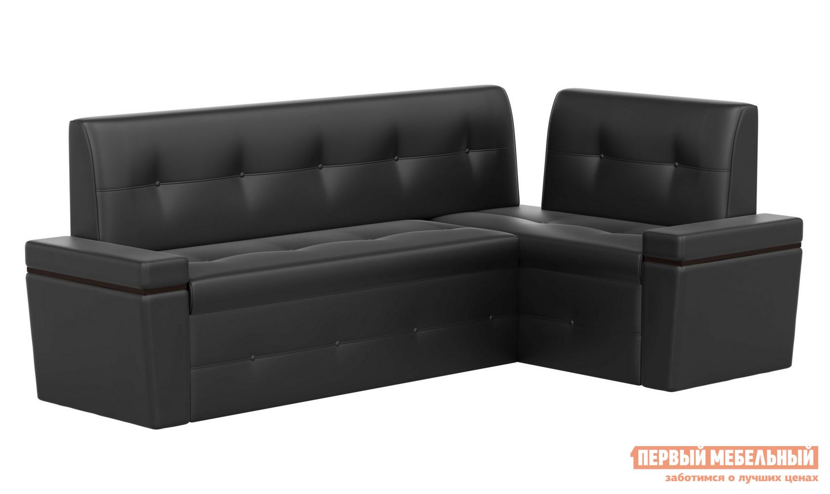 Фото Кухонный уголок Мебелико Кухонный угловой диван Деметра Экокожа черная, Правый. Купить с доставкой