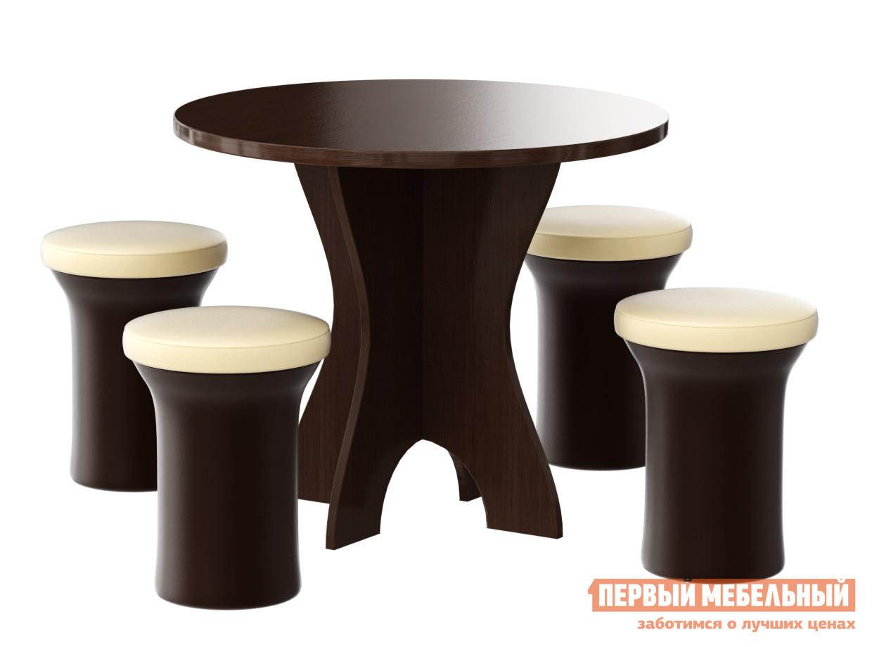 Обеденная группа для кухни Мебелико Обеденная группа Лотос (4-пуфа) обеденная группа с круглым столом для кухни боровичи норония 4 диметра