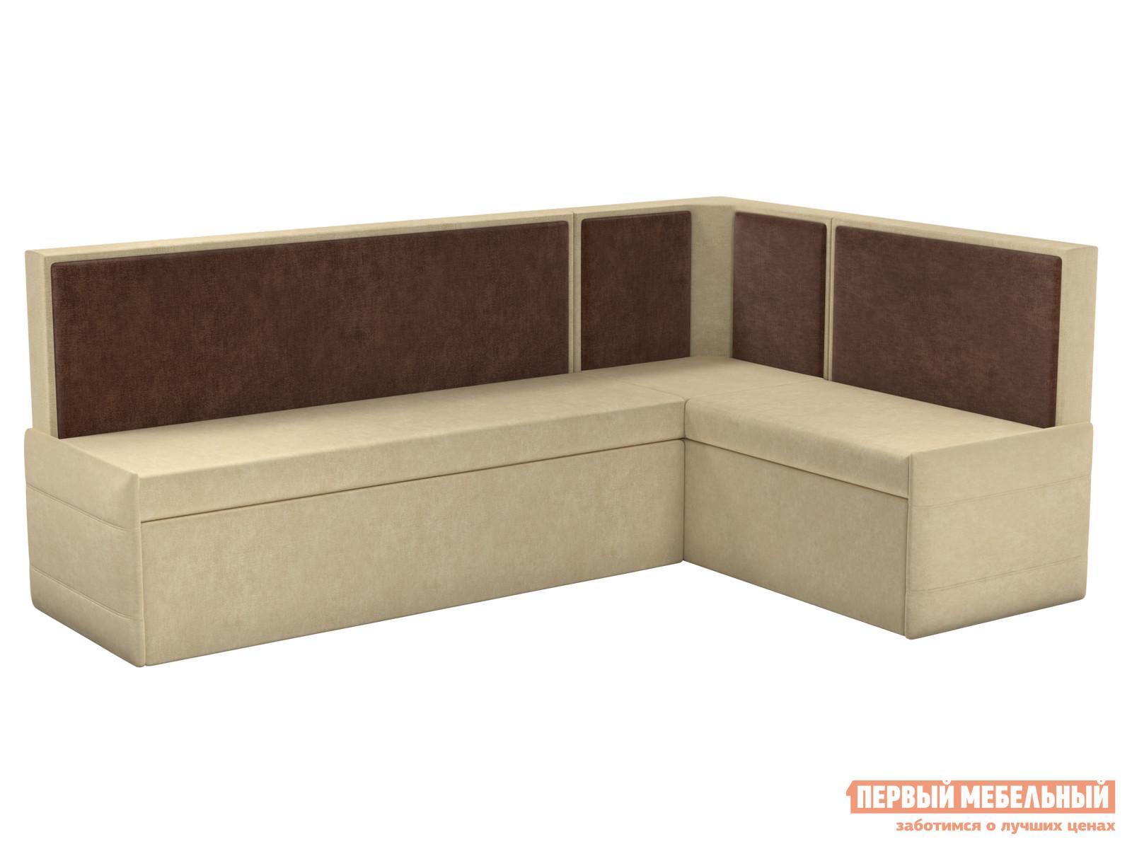 Кухонный диван  Кристина Бежево-коричневый микровельвет, Правый