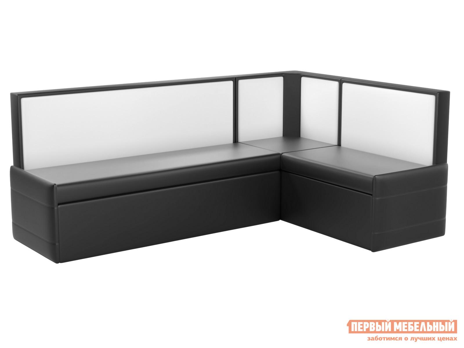 Кухонный диван Мебелико Кристина Экокожа черно-белый, Левый
