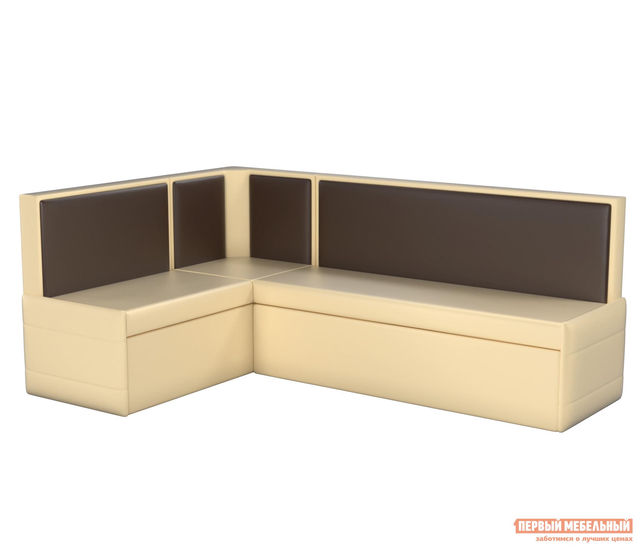Кухонный диван  Кристина Экокожа бежево-коричневый, Левый