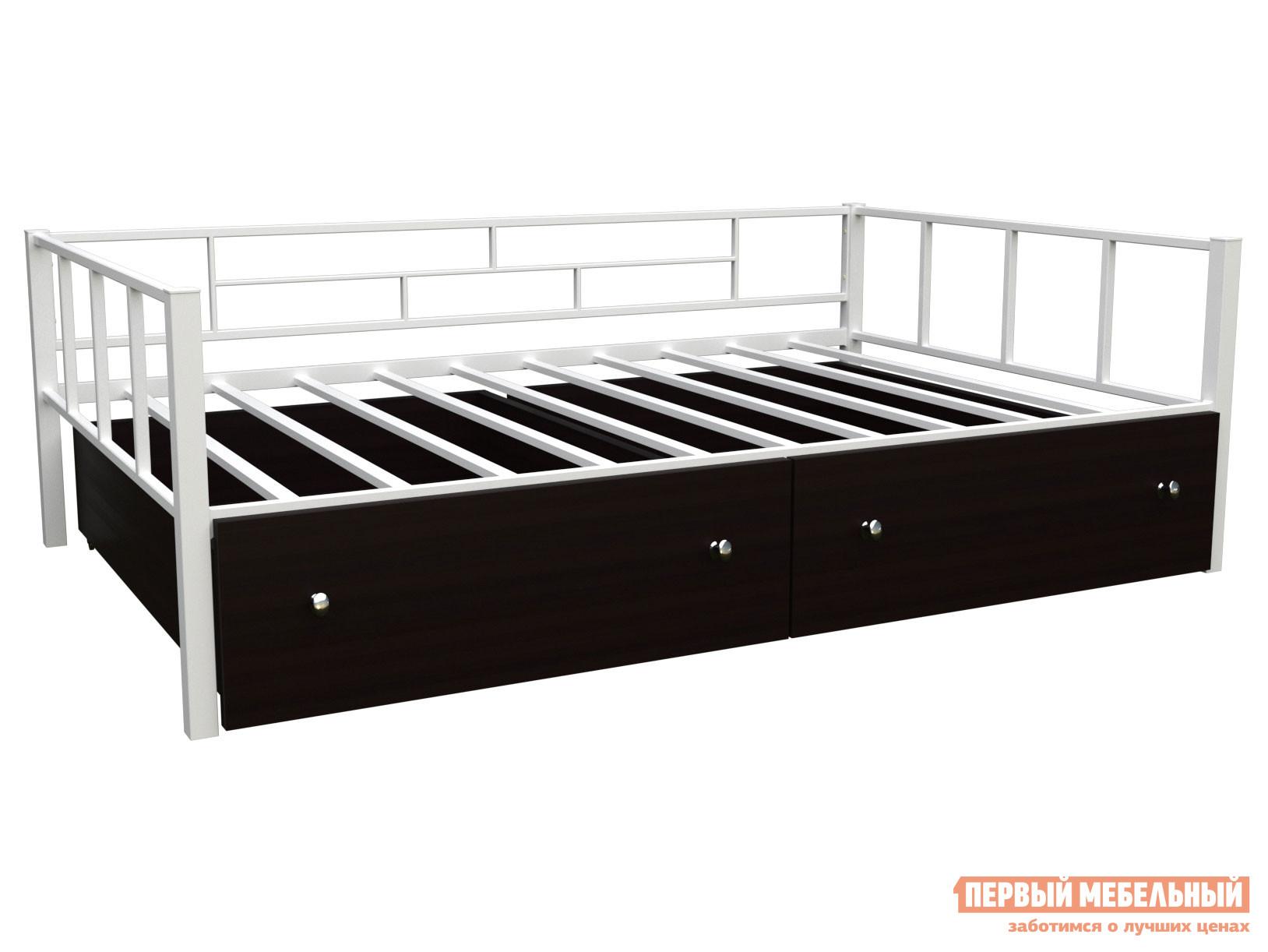 Детская кровать  Кровать Арга 120 с ящиками Белый / Венге