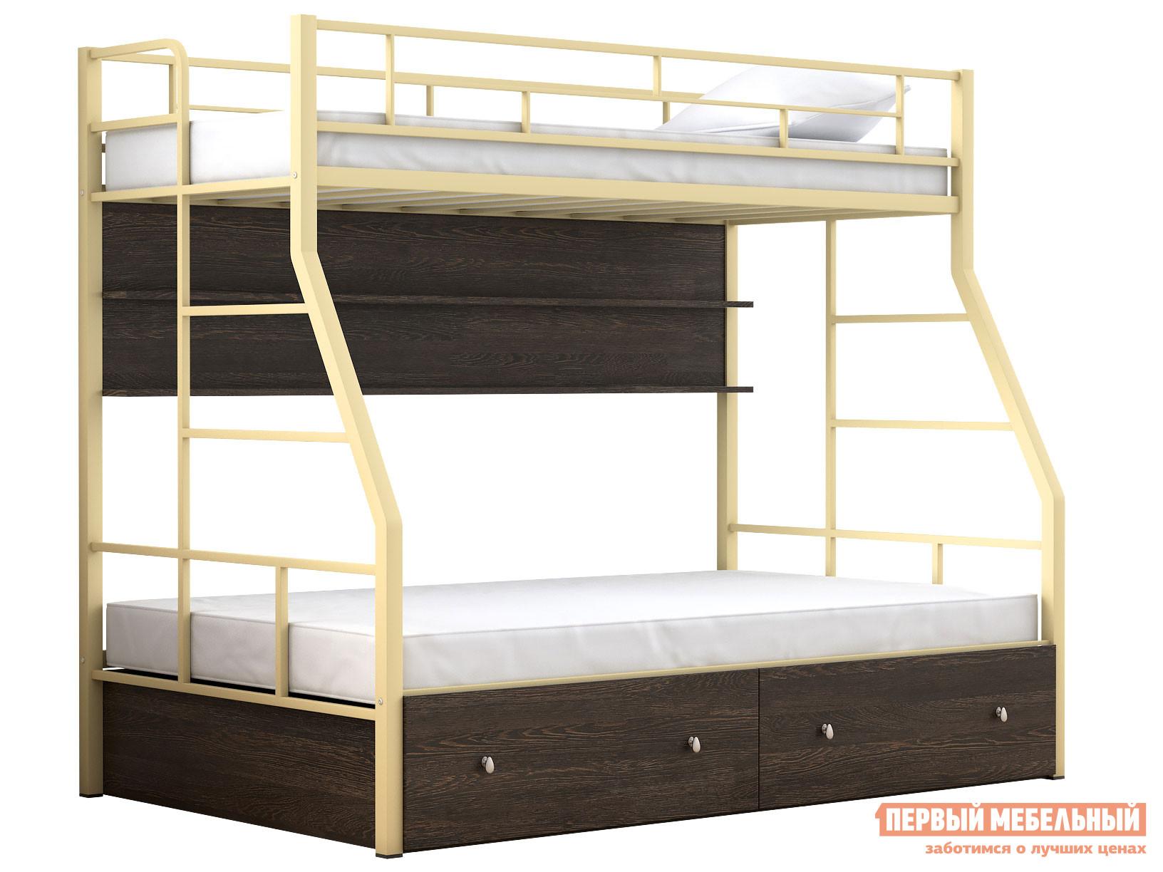 Двухъярусная кровать МФ 4 Сезона Двухъярусная детская кровать Раута Твист с полкой и ящиками