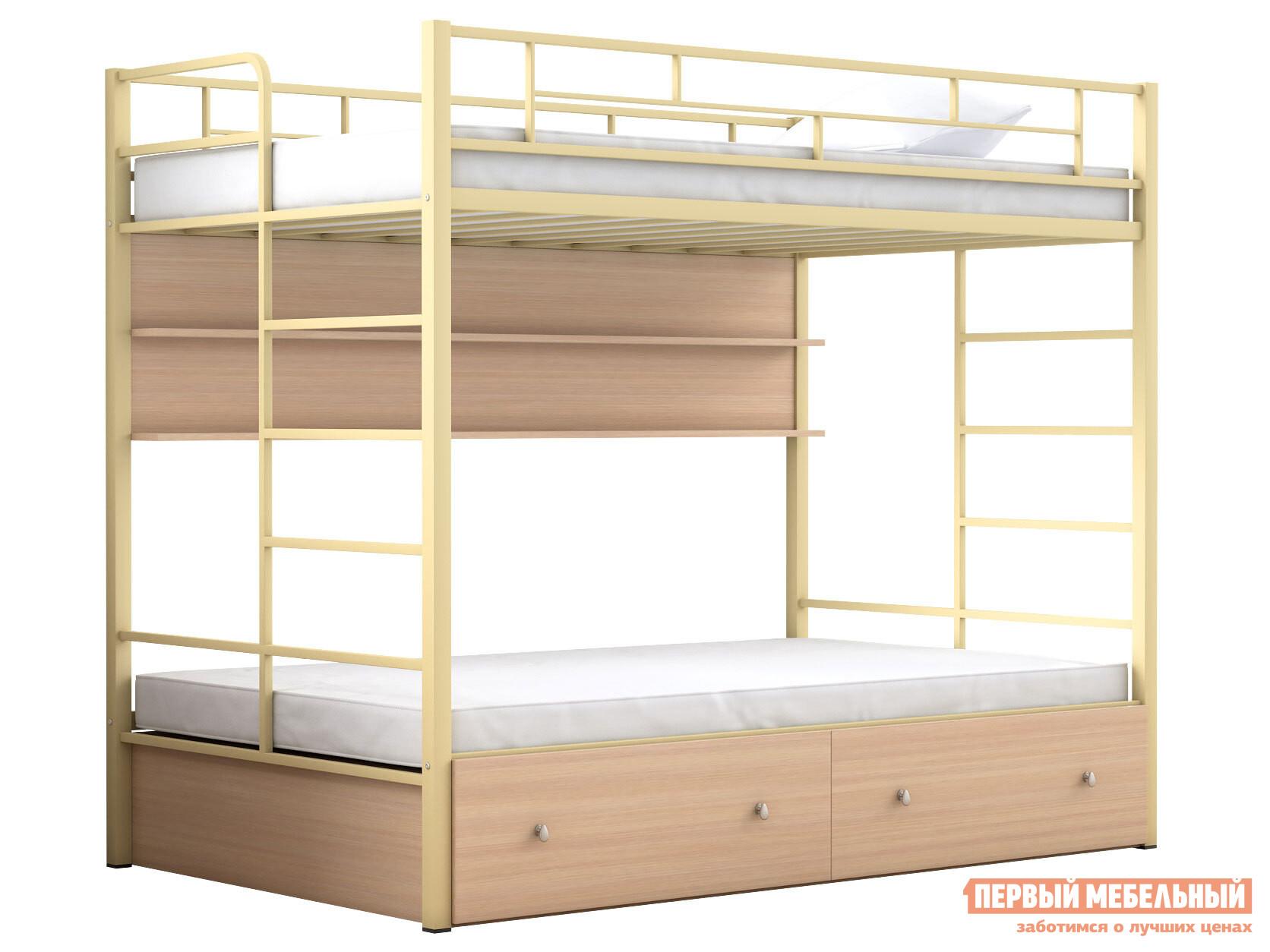 Двухъярусная кровать МФ 4 Сезона Двухъярусная детская кровать Валенсия 120 Твист с полкой и ящиками
