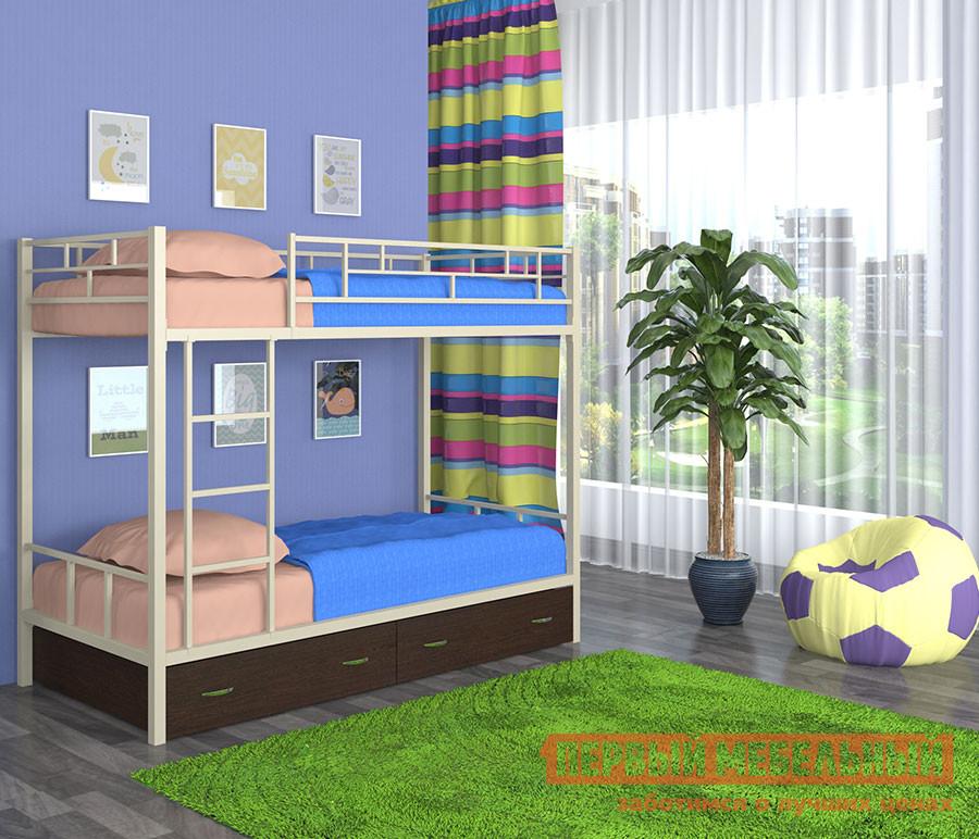 Кровать 4 Сезона Ницца с ящиками Слоновая кость, Дуб молочный, С матрасамиДвухэтажные кровати<br>Габаритные размеры ВхШхГ 1620x1980x960 мм. Двухэтажная кровать поможет получить два спальных места и в то же время сэкономить пространство в комнате.  Верхний ярус защищает специальный бортик, который обеспечит безопасный сон вашему ребенку.  Два вместительный ящиками помогут хранить в порядке детские вещи, игрушки и постельное белье. Спальное место нижнего яруса (ШхГ): 1900 х 900 мм.  Спальное место верхнего яруса (ШхГ): 1900 х 900 мм. Максимальная нагрузка на спальное место составляет 100 кг.  Изделие выполнено из стали, покрытой защитной порошковой краской.  Лесенку можно установить как с правой, так и с левой стороны.  Ящики и полка выполнены из ЛДСП. Обратите внимание! Вы можете выбрать удобный вариант покупки кровати: с матрасом или без него.  Ознакомиться с моделью матраса, который входит в комплект кровати вы можете в разделе «Аксессуары». Обратите внимание! Полка для кровати в комплект не входит, ее необходимо приобретать отдельно.  Ознакомиться с предложенной моделью полки вы можете в разделе «Аксессуары».<br><br>Цвет: Бежевый<br>Высота мм: 1620<br>Ширина мм: 1980<br>Глубина мм: 960<br>Кол-во упаковок: 3<br>Форма поставки: В разобранном виде<br>Срок гарантии: 12 месяцев<br>Назначение: Для подростков<br>Материал: Металл<br>Материал: Дерево<br>Материал: ЛДСП<br>Размер: Спальное место 90Х190<br>С ящиками: Да<br>С матрасом: Да<br>Пол: Для девочек<br>Пол: Для мальчиков