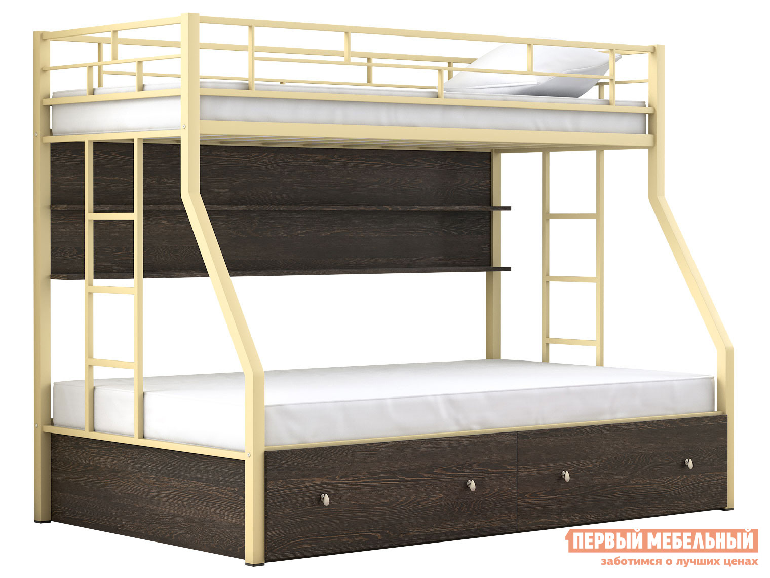 Двухъярусная кровать МФ 4 Сезона Двухъярусная детская кровать Милан с полкой и ящиками