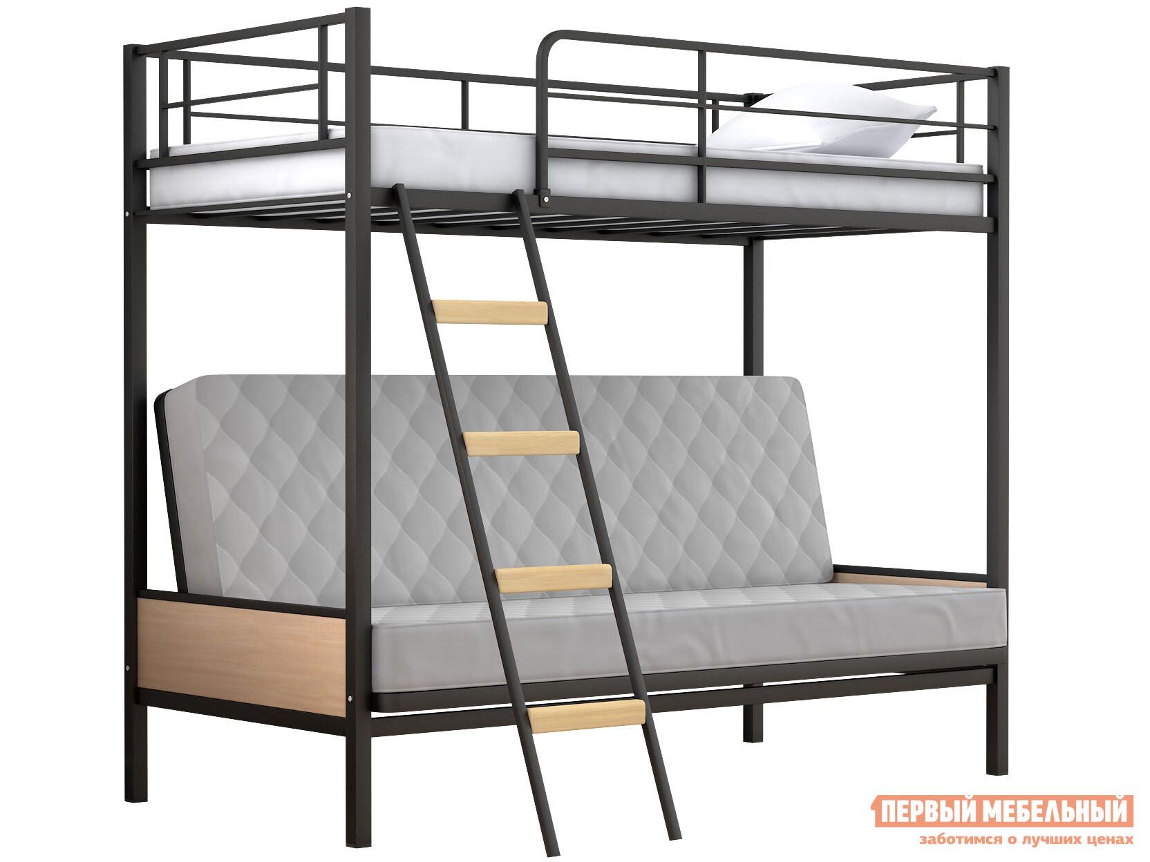 Кровать  Двухъярусная детская кровать Дакар 2 Черный / Дуб молочный — Двухъярусная детская кровать Дакар 2 Черный / Дуб молочный
