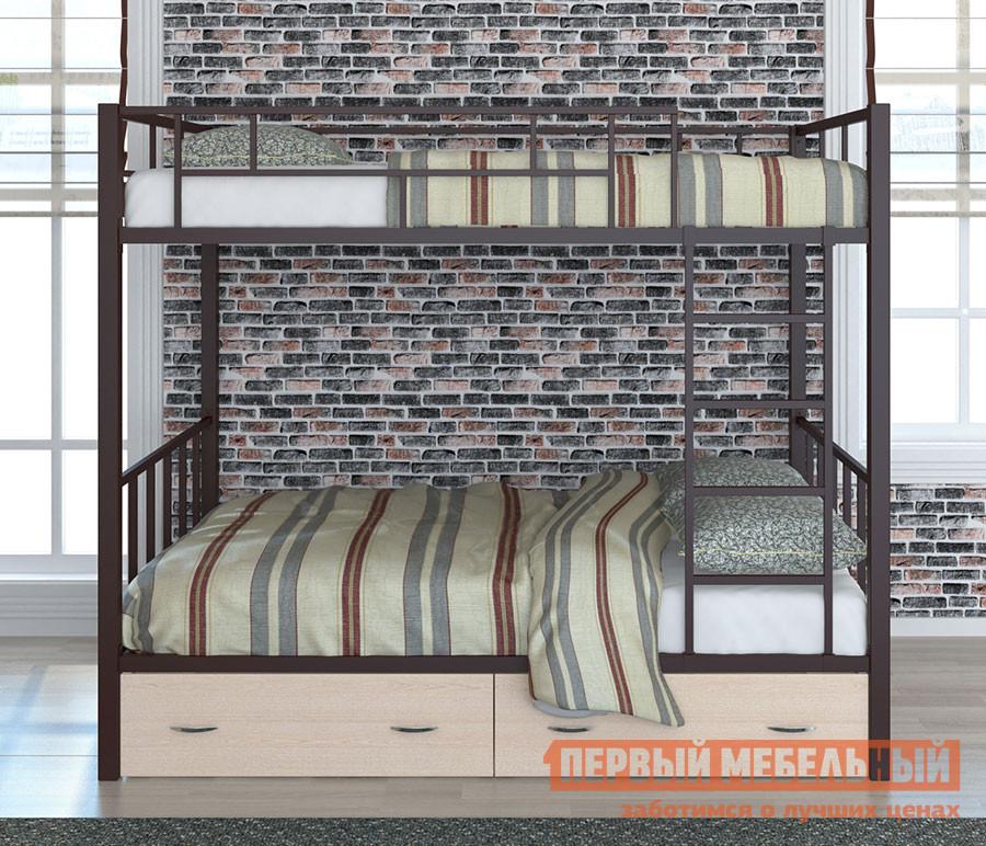 Кровать ЧСМФ Валенсия 120 с ящиками Коричневый, Венге, С матрасами