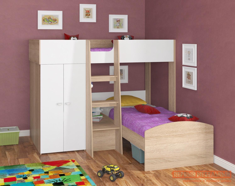 Детская угловая двухъярусная кровать-чердак МФ 4 Сезона Golden Kids-4 двухъярусная детская кровать tamaaki furniture