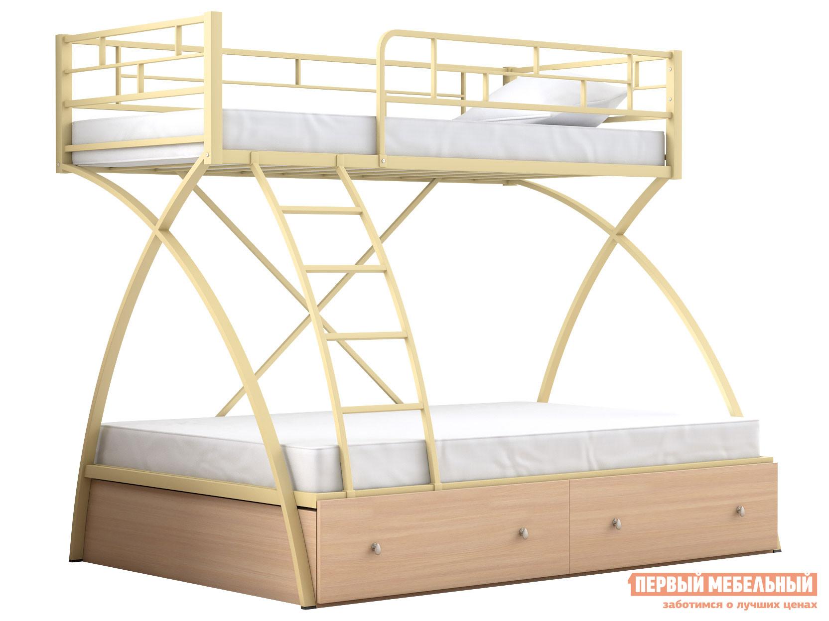 Двухъярусная кровать МФ 4 Сезона Двухъярусная детская кровать Клео 1 с ящиками
