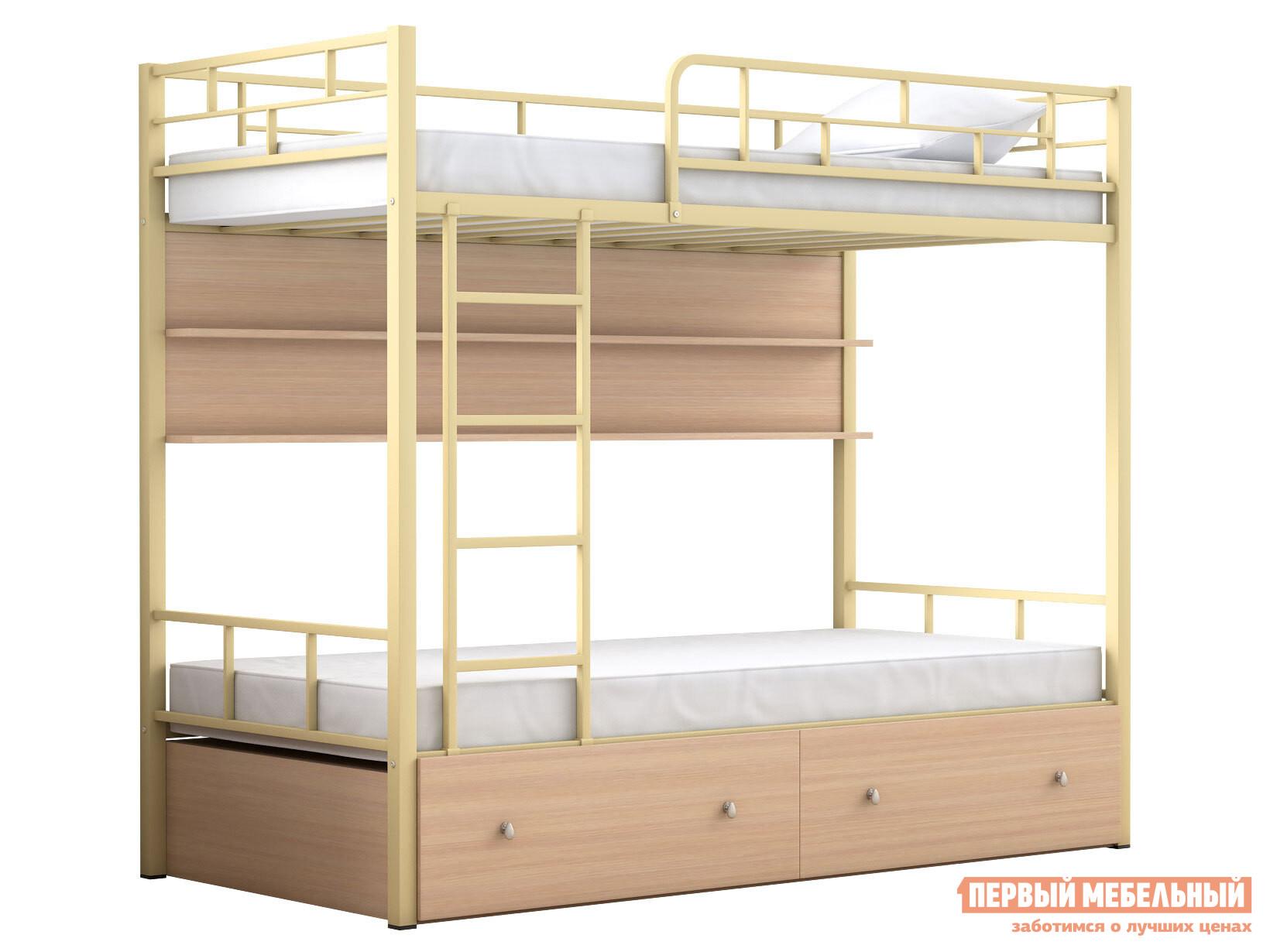 Двухъярусная кровать МФ 4 Сезона Двухъярусная детская кровать Валенсия с полкой и ящиками