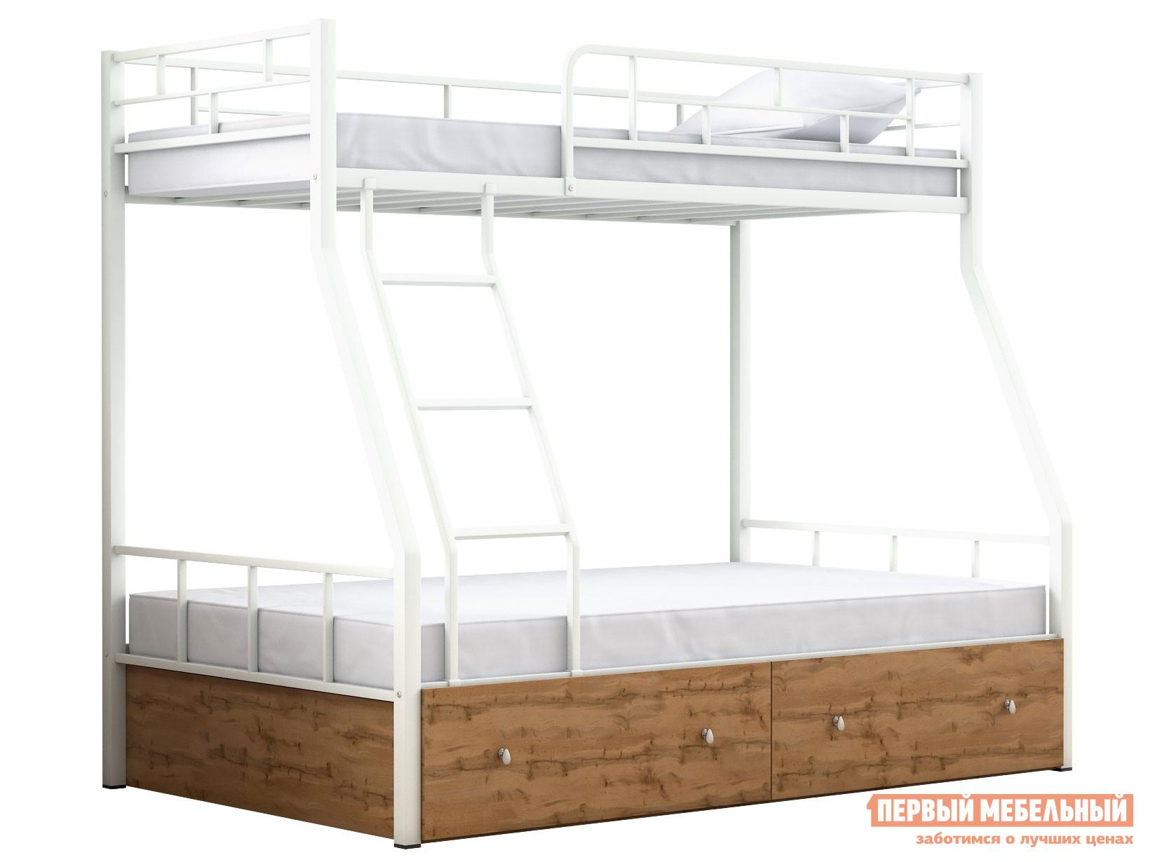 Кровать Двухъярусная детская кровать Раута с ящиками Белый, Дуб ватан фото