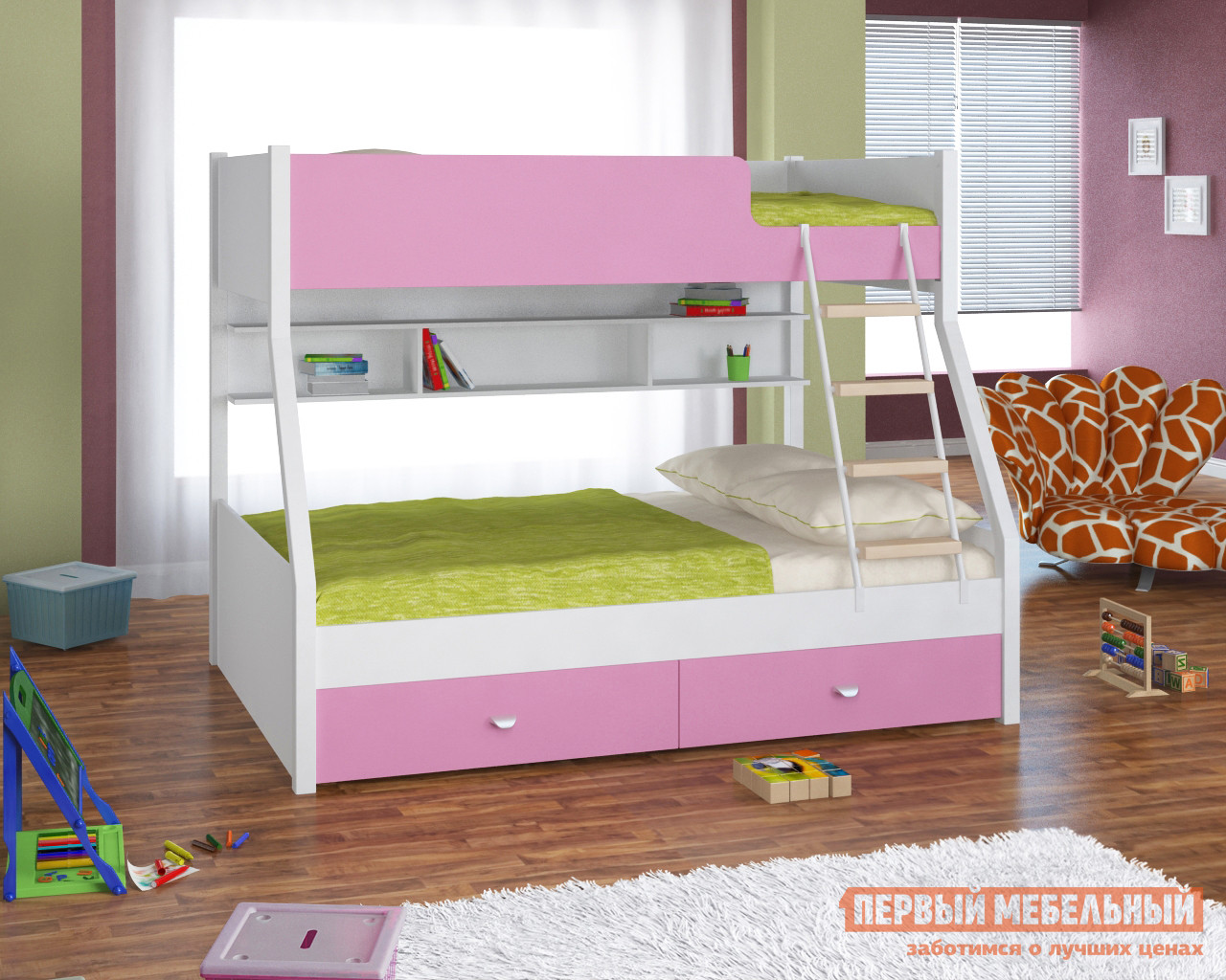 Двухъярусная кровать с полками и ящиками Белый слон Golden Kids-3