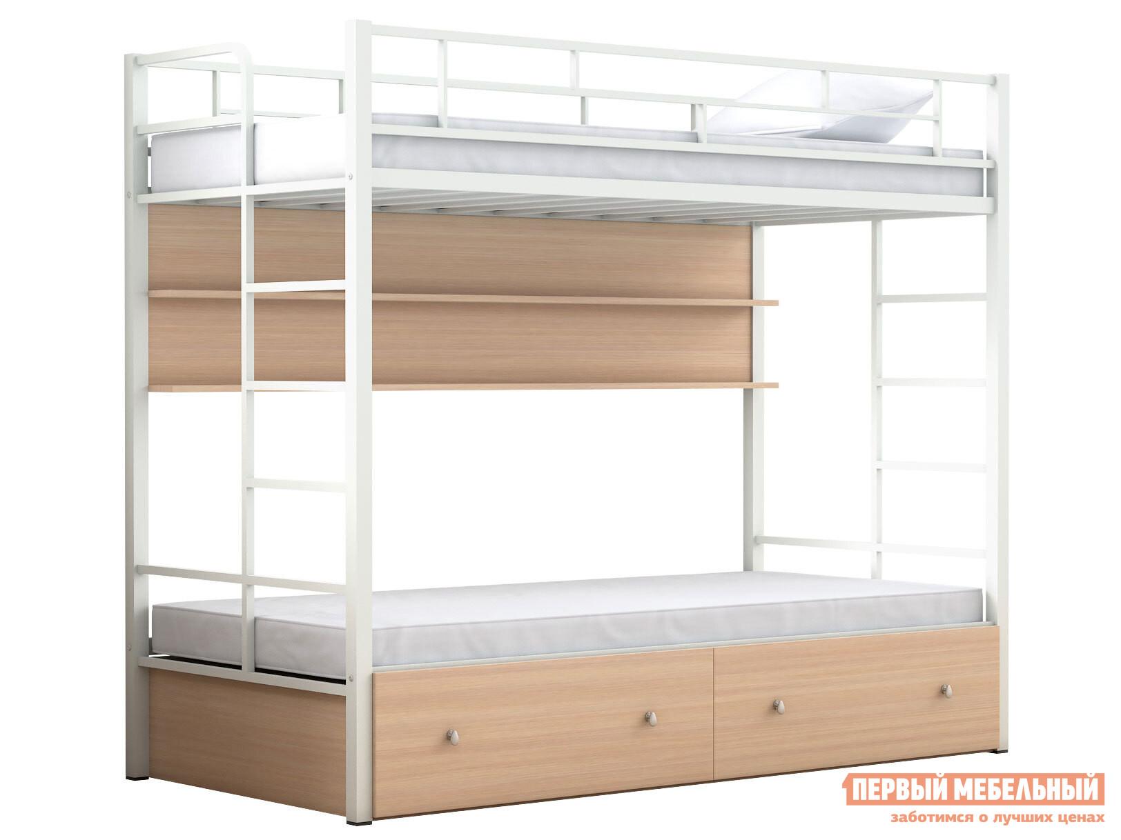 Двухъярусная кровать МФ 4 Сезона Двухъярусная детская кровать Валенсия Твист с полкой и ящиками