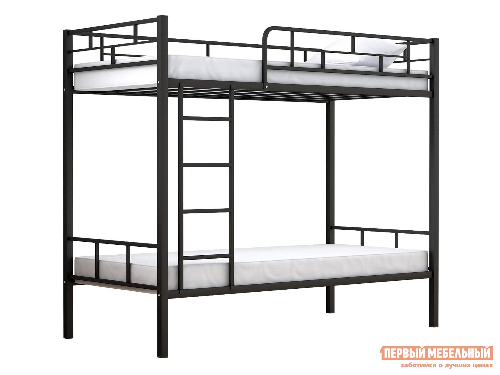 Кровать  Двухъярусная Валенсия 90 Черный, Без полок и ящиков ЧСМФ 122854