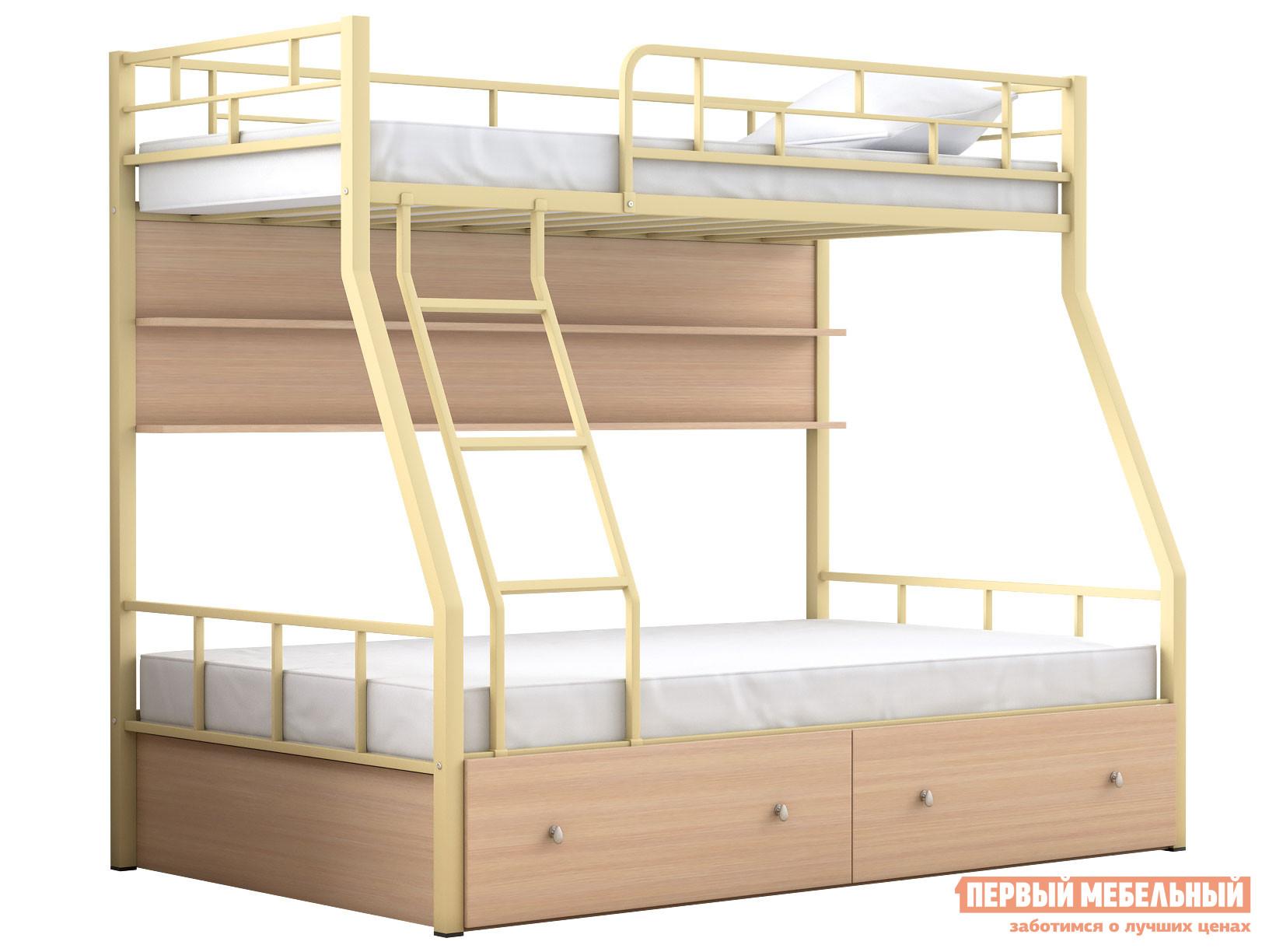 Двухъярусная кровать МФ 4 Сезона Двухъярусная детская кровать Раута с полкой и ящиками