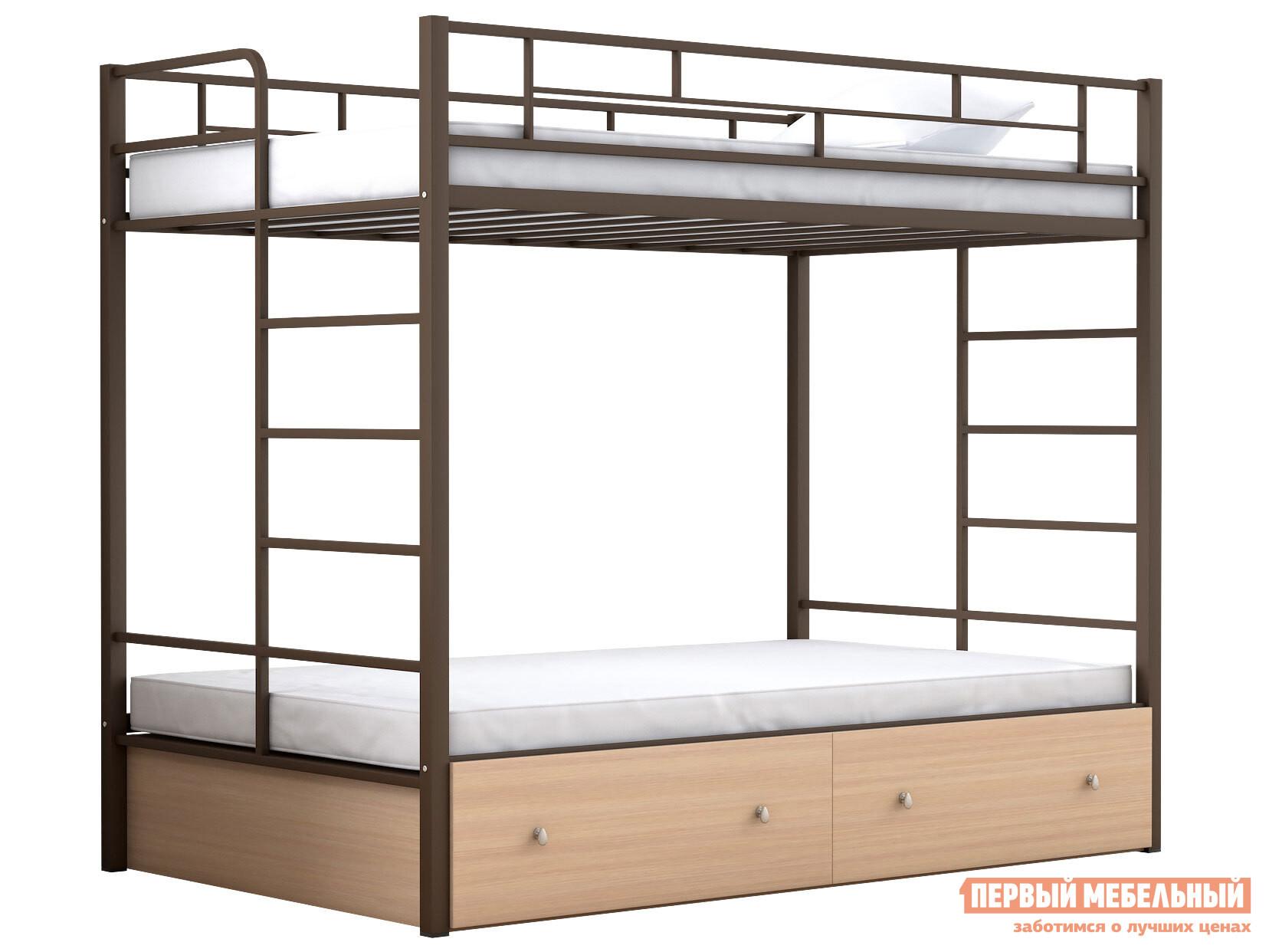 Двухъярусная кровать МФ 4 Сезона Двухъярусная детская кровать Валенсия 120 Твист с ящиками