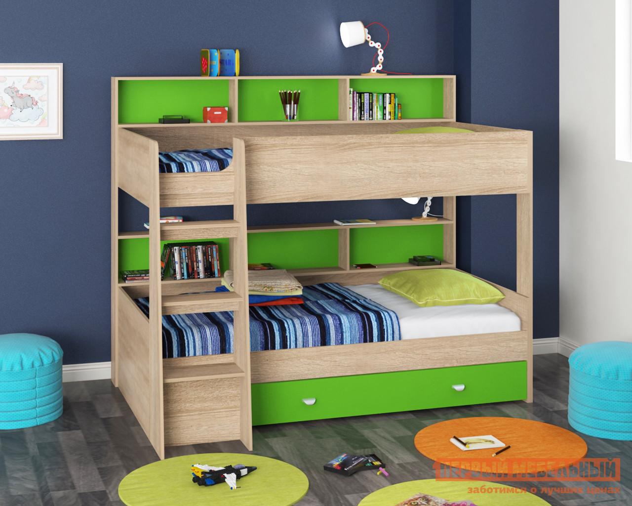 Кровать МФ 4 Сезона Golden Kids-1 Зеленый, Дуб сонома, Без матрасов МФ 4 Сезона Габаритные размеры ВхШхГ 1830x2075x1400 мм. Двухъярусная кровать — это настоящая находка для родителей.  Данная модель вместительна, практична и удобна в использовании.  В основании кровати находится глубокий ящик, в нем можно хранит постельные принадлежности, детские вещи или игрушки.  Каждый ярус дополнен полочкой, на которой дети смогут разместить любимые книжки, игрушки и поделки. <br>Верхнее спальное место ограждено бортиком, который защитит ребенка во время сна.  Лестницу можно установить как с левой стороны, так и с правой. <br><br>Спальное место нижнего яруса (ШхГ): 900 х 2000 мм. <br> Спальное место верхнего яруса (ШхГ): 900 х 2000 мм. <br>Максимальная нагрузка на одно спальное место составляет 80 кг. <br><br> Комплекс универсальный: собирается на любую сторону. <br>Изделие выполнено из ЛДСП. <br />Основание под матрас — фанера. <br>Обратите внимание! Матрас для кровати в комплект не входит, его необходимо приобретать отдельно.  Ознакомиться с моделью матраса вы можете в разделе «Аксессуары». <br>