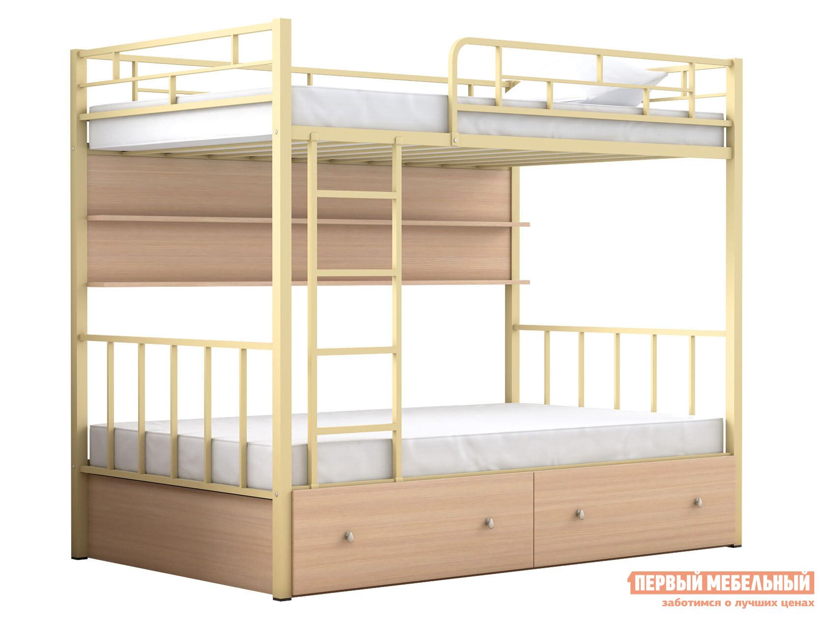 Двухъярусная кровать МФ 4 Сезона Двухъярусная детская кровать Валенсия 120 с полкой и ящиками
