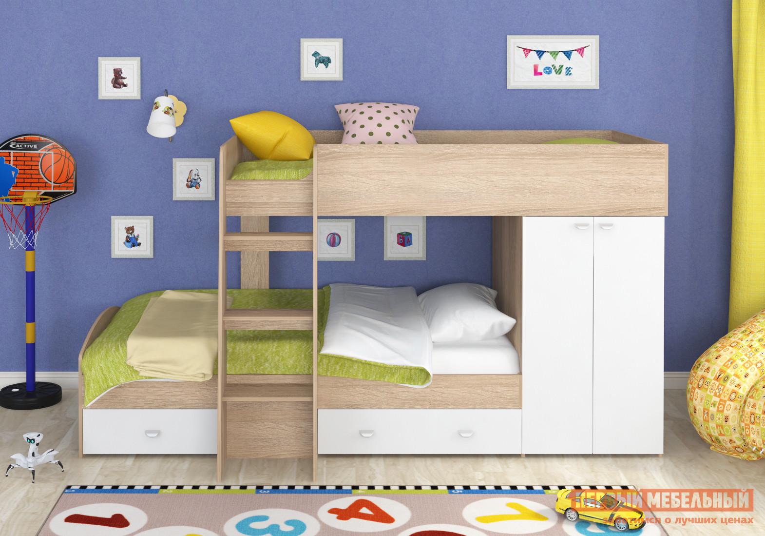 Кровать-чердак для подростка с двумя спальными местами МФ 4 Сезона Golden Kids-2