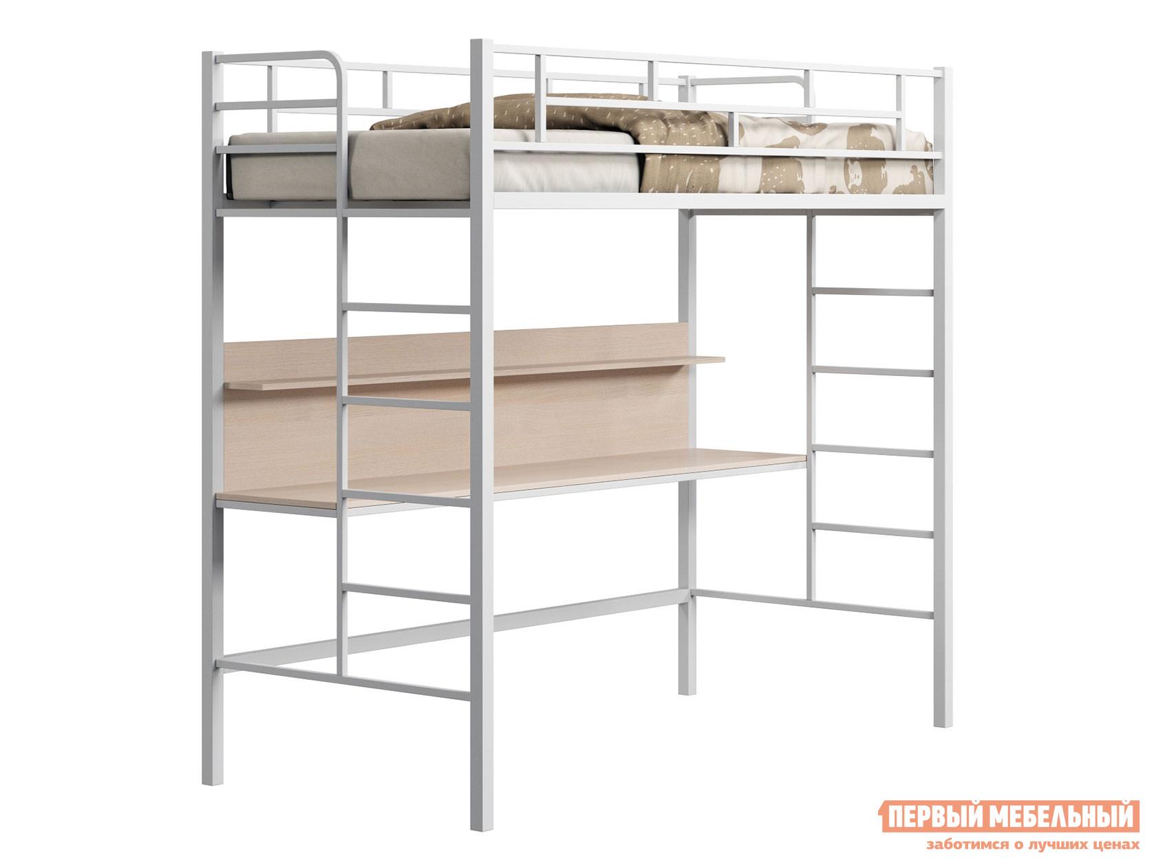 Кровать-чердак  Кровать-чердак Амстердам со столом Белый / Дуб молочный