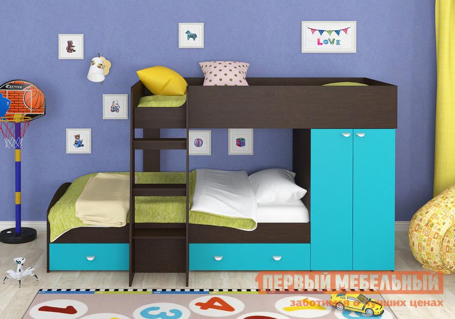 Кровать-чердак ЧСМФ Golden Kids-2 Голубой, Белый, С матрасами