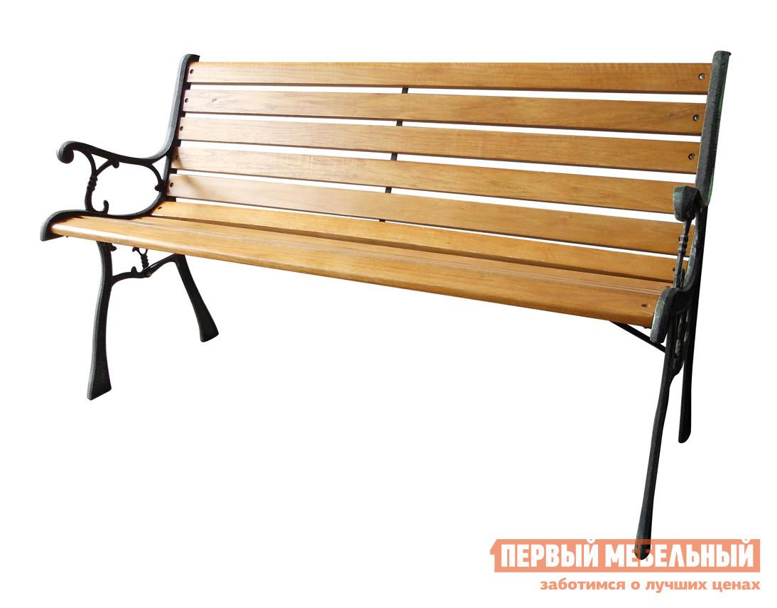 Скамейка Green Glade К022 Чугун / ДеревоСкамейки и лавочки<br>Габаритные размеры ВхШхГ 780x1260x600 мм. Классический представитель скамеек — модель Фарум К022.  Эта скамья отлично подойдет как для обустройства частного сада, так и парковой зоны. На ней будет удобно отдохнуть от дачных хлопот или почитать книжку в тени деревьев.  Фарум К022 изготавливается из качественных материалов, которые обеспечивают долгий срок службы без потери первозданного облика. Каркас выполняется из чугуна, а спинка и сиденье из древесины хвойных пород.  Конструкция очень прочная и способна выдерживать нагрузку до 120 кг.<br><br>Цвет: Черный<br>Цвет: Светлое дерево<br>Высота мм: 780<br>Ширина мм: 1260<br>Глубина мм: 600<br>Кол-во упаковок: 1<br>Форма поставки: В разобранном виде<br>Срок гарантии: 6 месяцев<br>Тип: Со спинкой<br>Тип: Кованые<br>Назначение: Для дачи<br>Назначение: Для парка<br>Назначение: Для сада<br>Материал: Металл<br>Материал: Дерево<br>Материал: Чугун<br>Порода дерева: Сосна<br>Размер: Большие<br>Размер: Широкие<br>С подлокотниками: Да<br>Стиль: Ретро