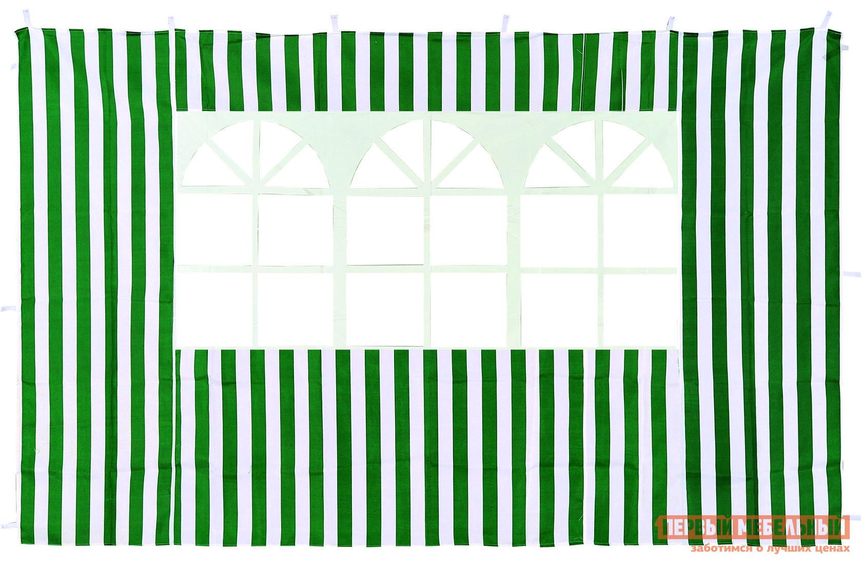 Аксессуар Green Glade Стенка с окном для садового тента ЗеленыйАксессуары для шатров<br>Габаритные размеры ВхШхГ 1950x2950x мм. Стенка с окном Ормант для садового шатра или тента.  Для навешивание данной модели необходимо место размером 3000 мм.  Зафиксировать модель Ормант очень просто.  По всему периметру расположены петельки-липучки, которыми необходимо закрепить стенку к каркасу.  Стенка в центре имеет окошко, через которое внутрь шатра будет проникать солнечный свет.  Изделие выполнено в традиционных для тенда цветах: зеленом и синем в белую полоску. Стенка водонепроницаема, выполнена из полиэстера плотностью 140 г.  Обратите внимание! Цена указана за одну стенку, а не за комплект из четырех штук.<br><br>Цвет: Зеленый<br>Высота мм: 1950<br>Ширина мм: 2950<br>Кол-во упаковок: 1<br>Форма поставки: В собранном виде<br>Срок гарантии: 6 месяцев